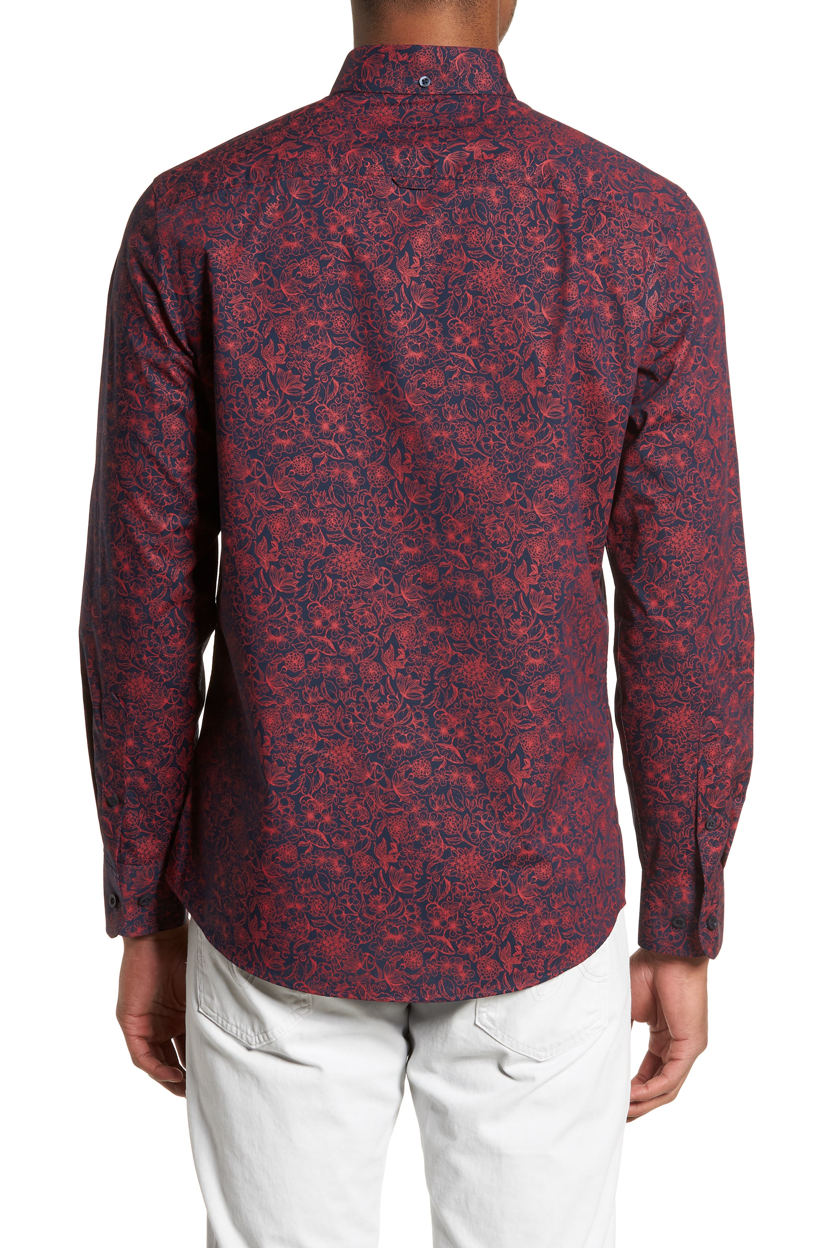 Trim Fit Non-Iron Floral Sport Shirt,                             Alternate thumbnail 2, color,                             Navy Iris Red Bloom