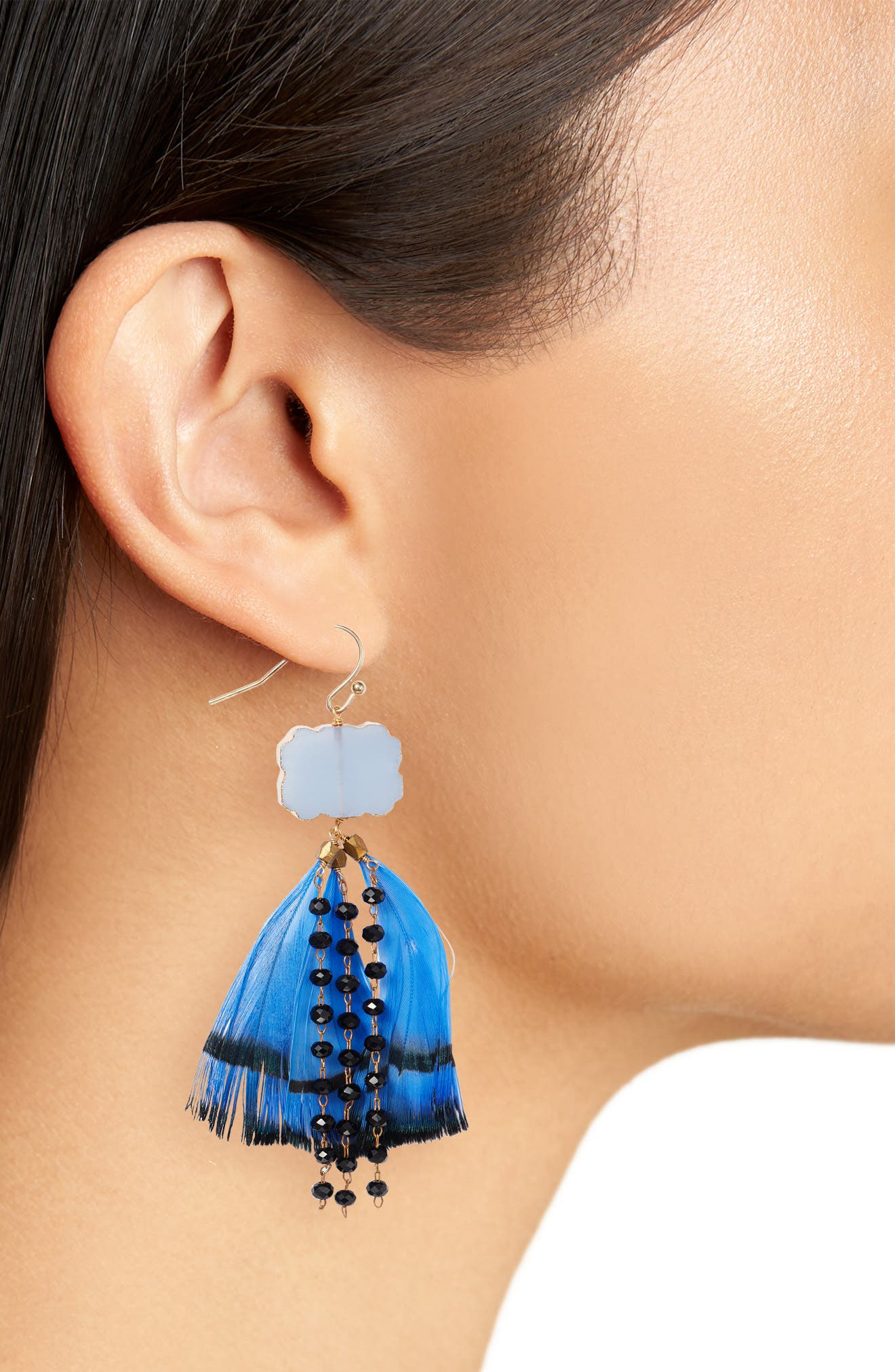 Feather & Bead Drop Earrings,                             Alternate thumbnail 2, color,                             Blue
