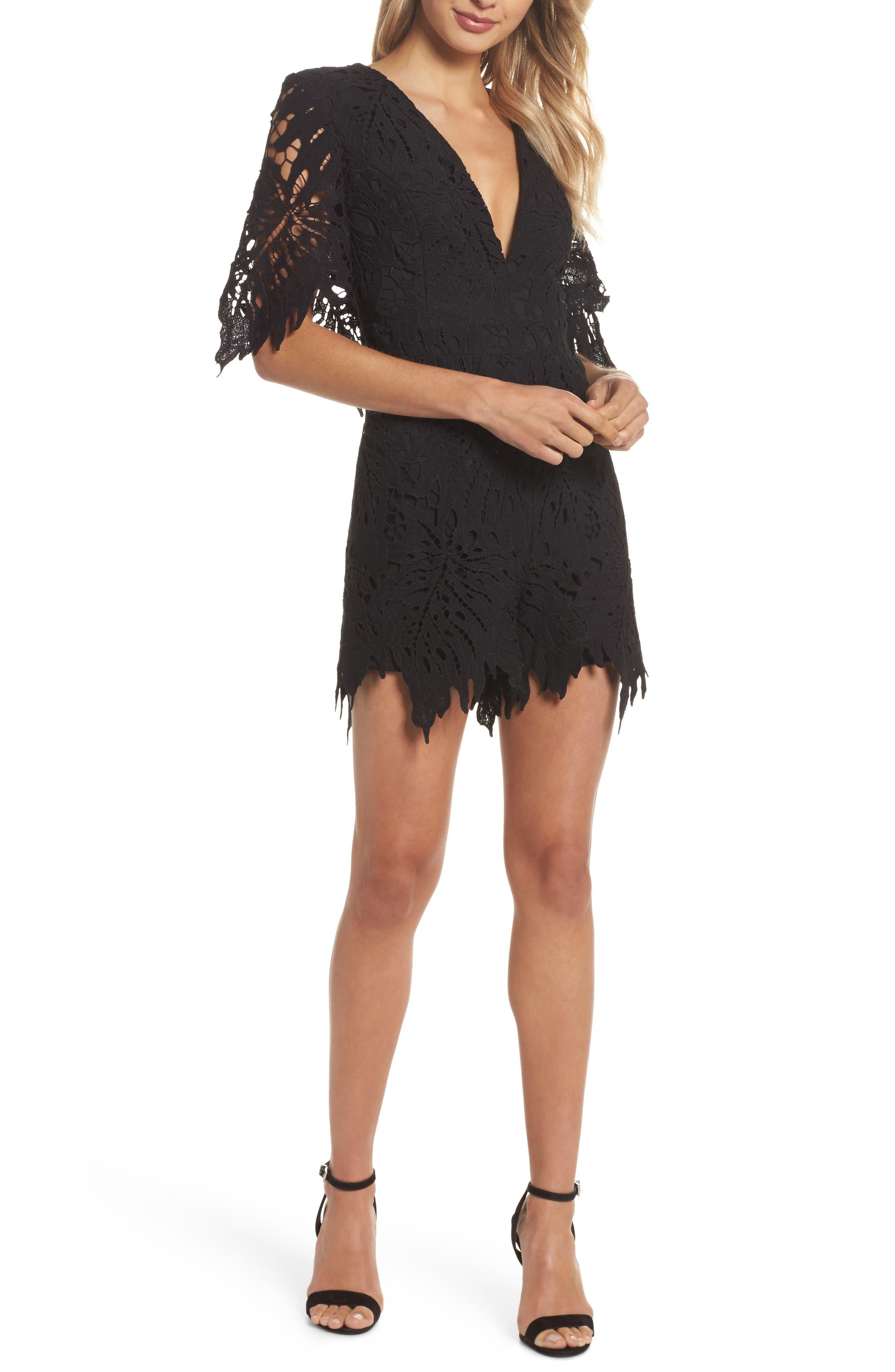 Amalfi Lace Romper,                         Main,                         color, Black