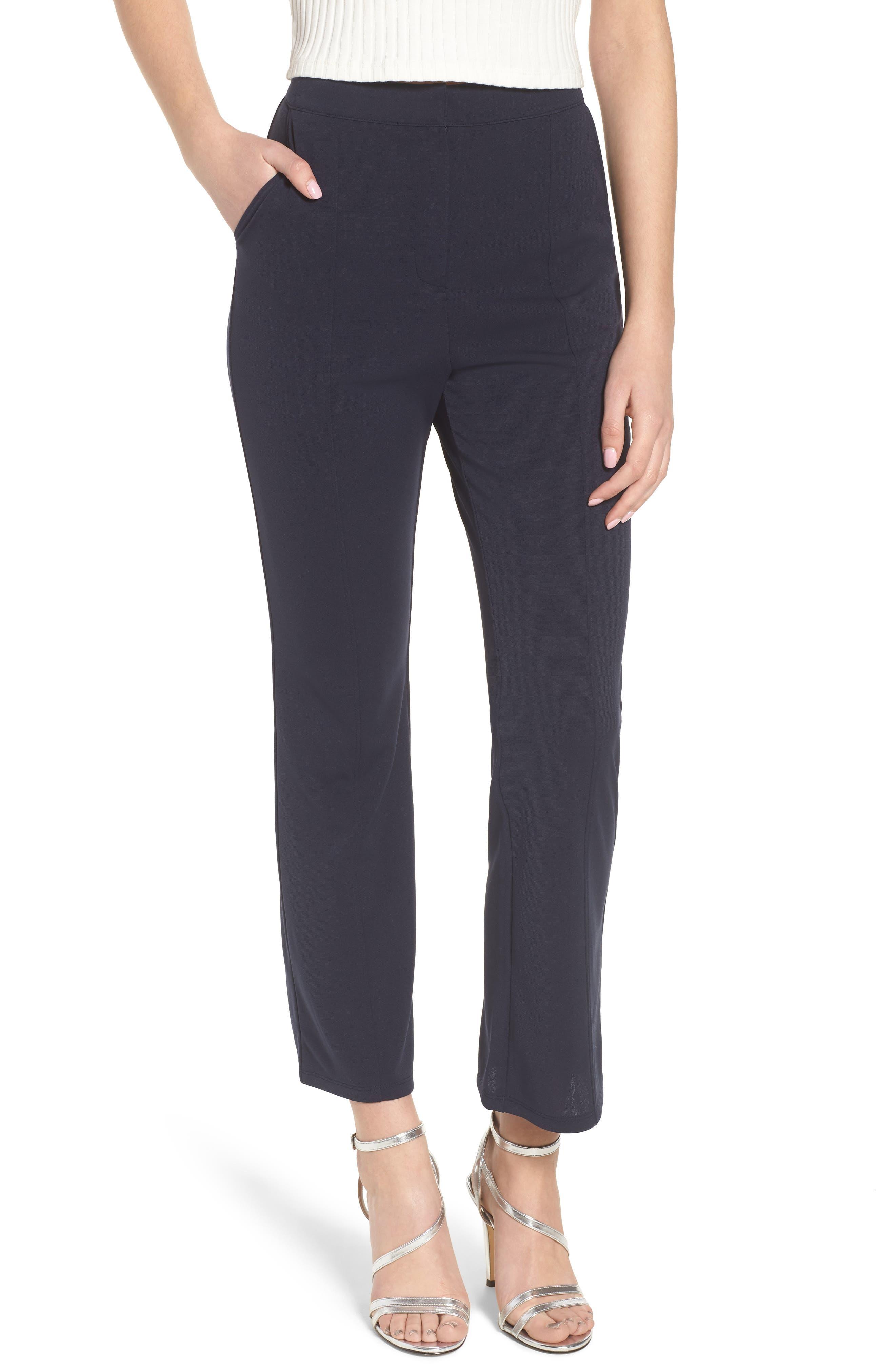 High Waist Crop Flare Pants,                         Main,                         color, Navy Evening