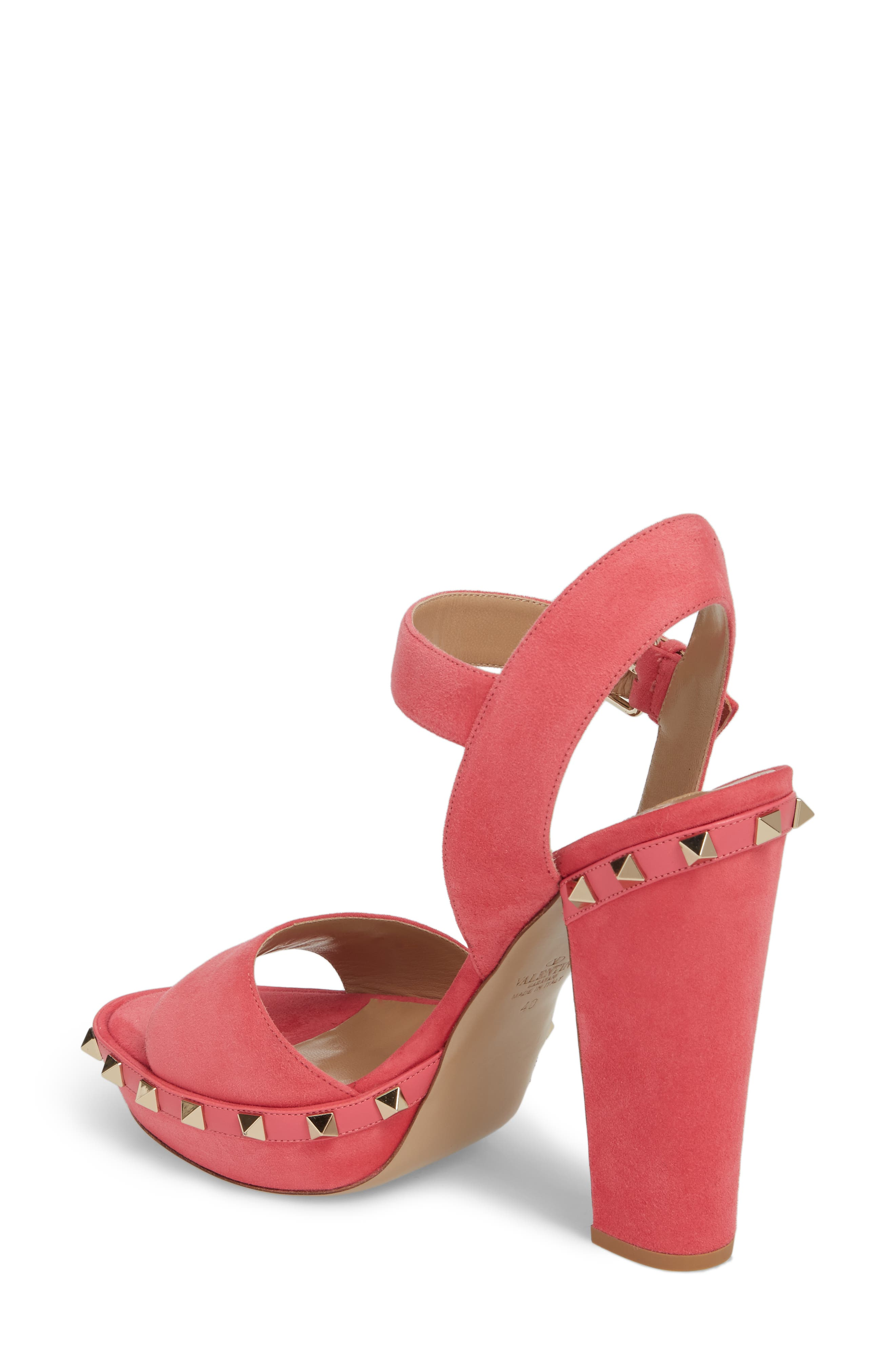 Rockstud Platform Sandal,                             Alternate thumbnail 2, color,                             Shadow Pink