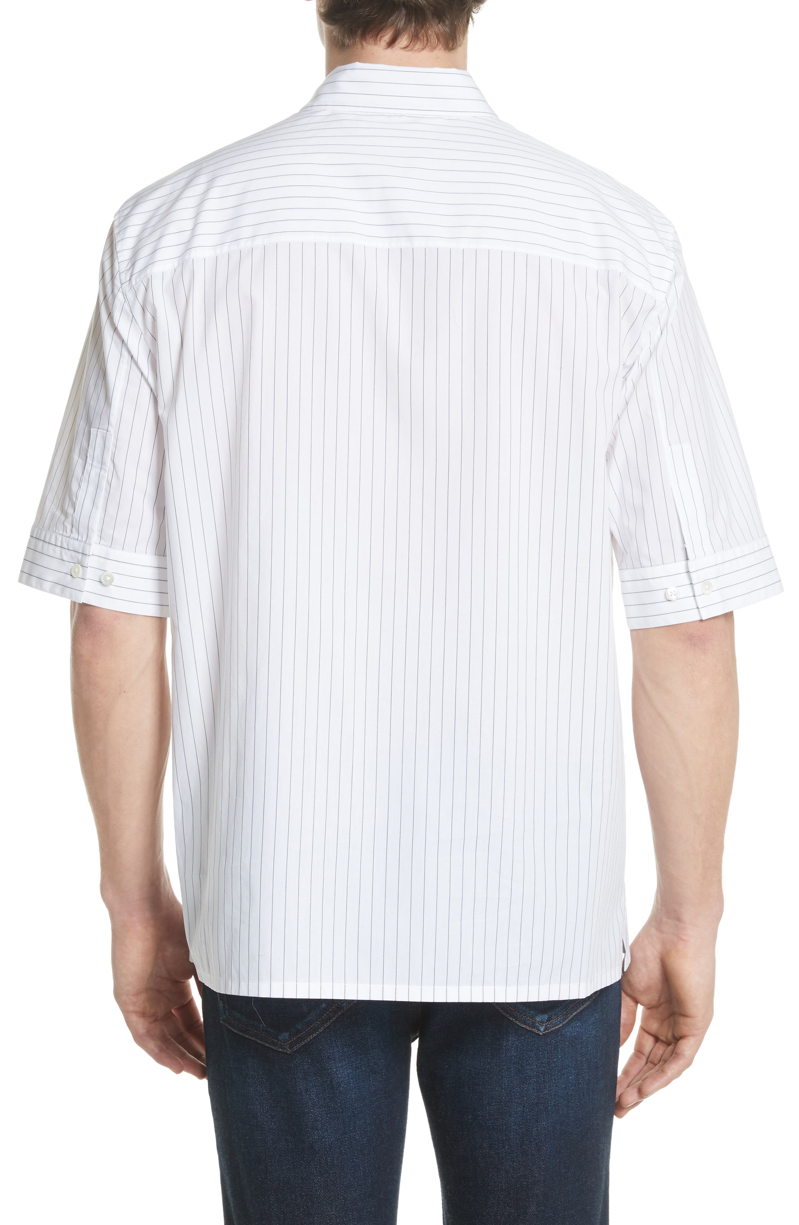 Elongated Placket Stripe Woven Shirt,                             Alternate thumbnail 3, color,                             White