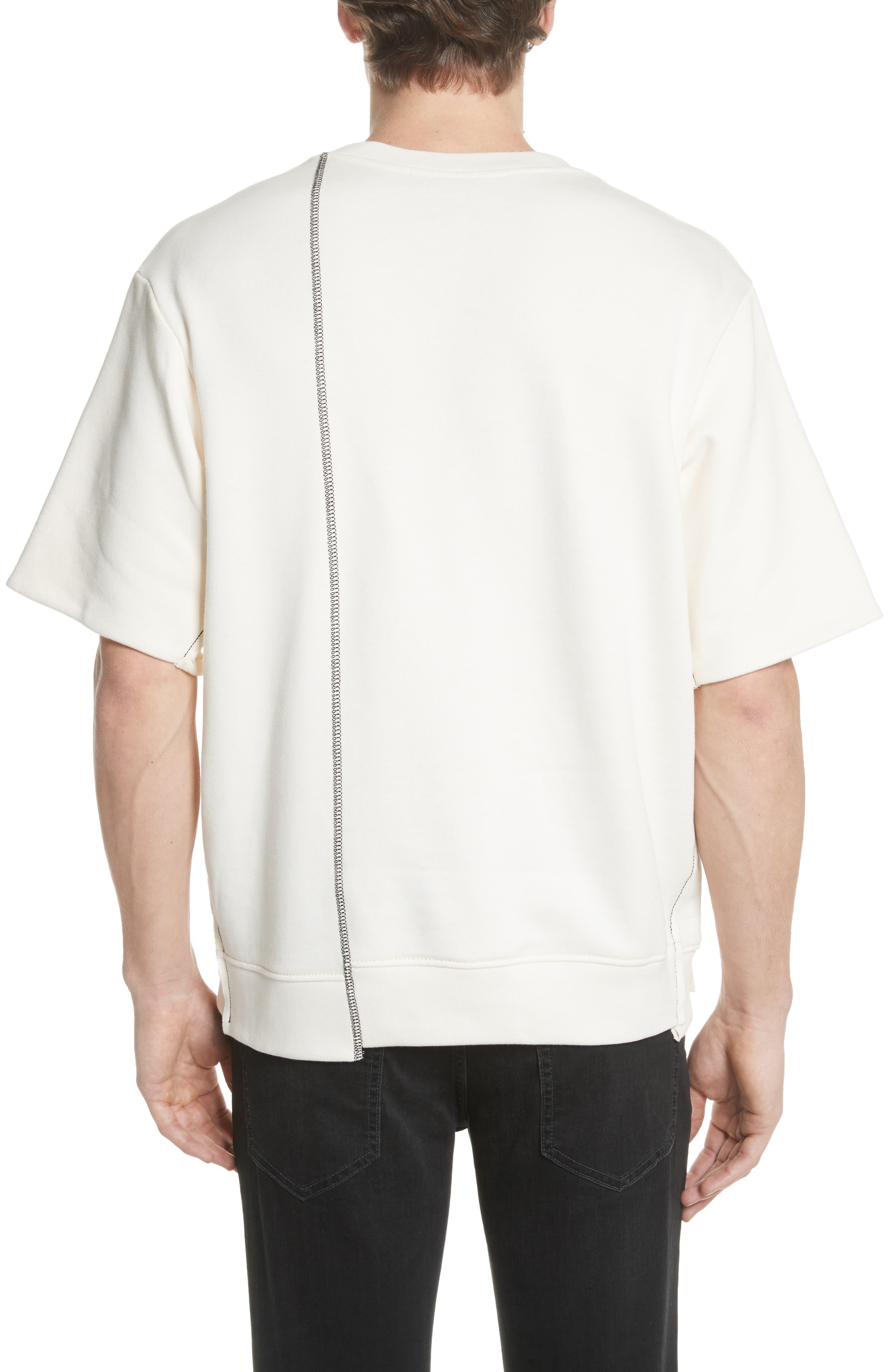 Reconstructed Short Sleeve Sweatshirt,                             Alternate thumbnail 2, color,                             Ecru