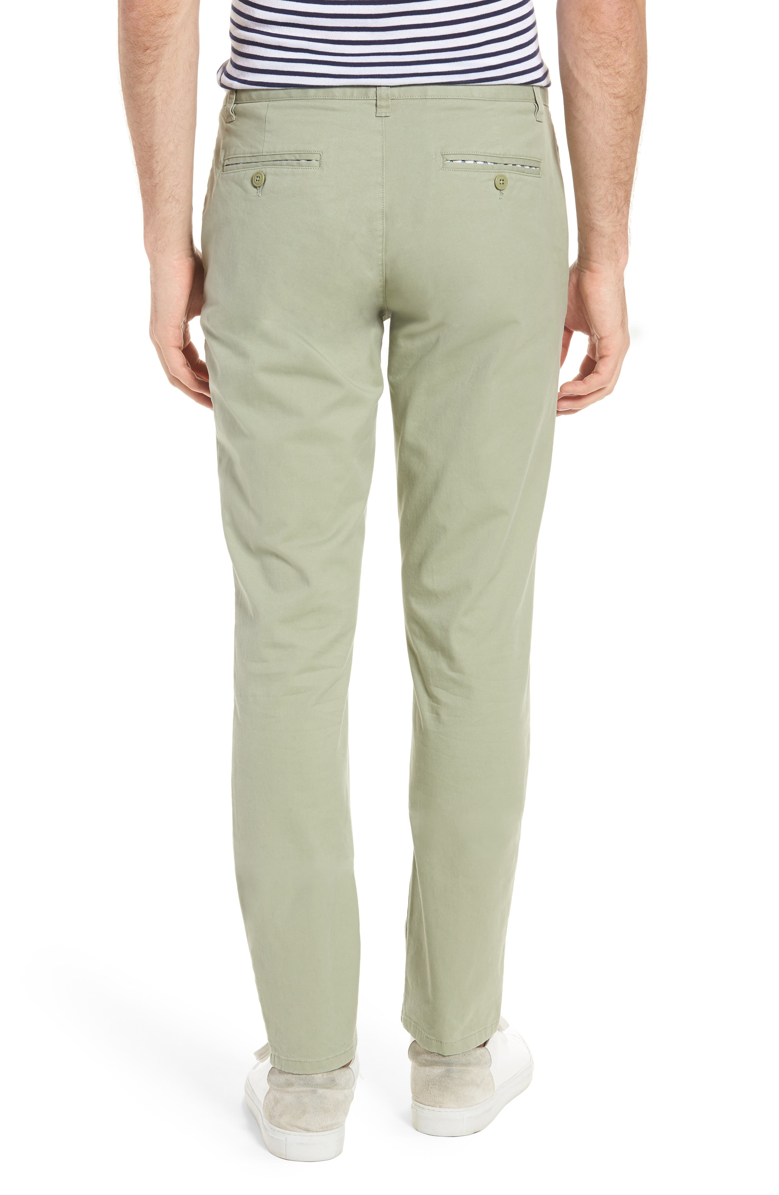 Tailored Fit Washed Stretch Cotton Chinos,                             Alternate thumbnail 2, color,                             Sage Brush