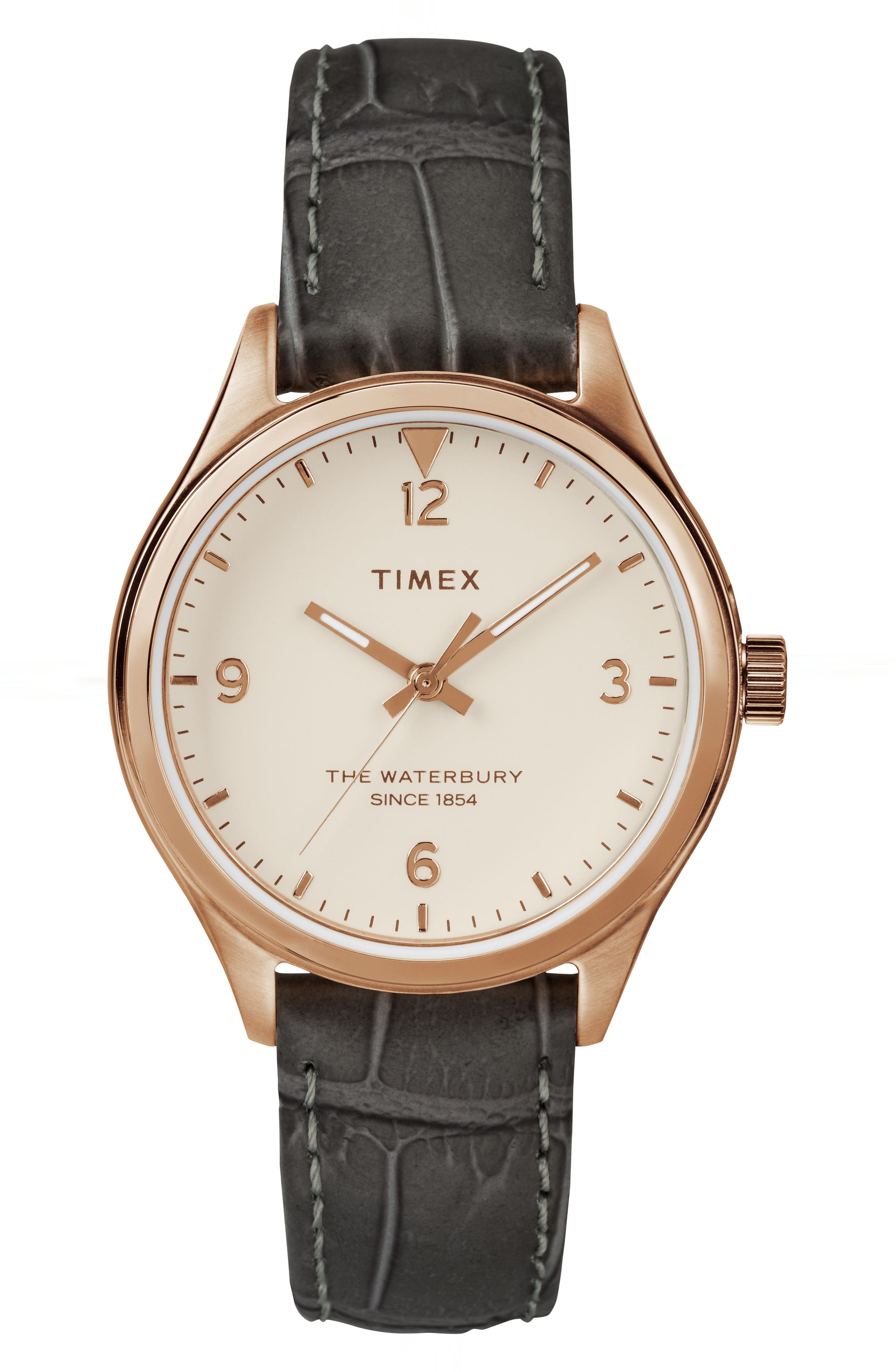 Timex Waterbury Leather Strap Watch, 34mm,                             Main thumbnail 1, color,                             Grey/ Cream/ Rose Gold