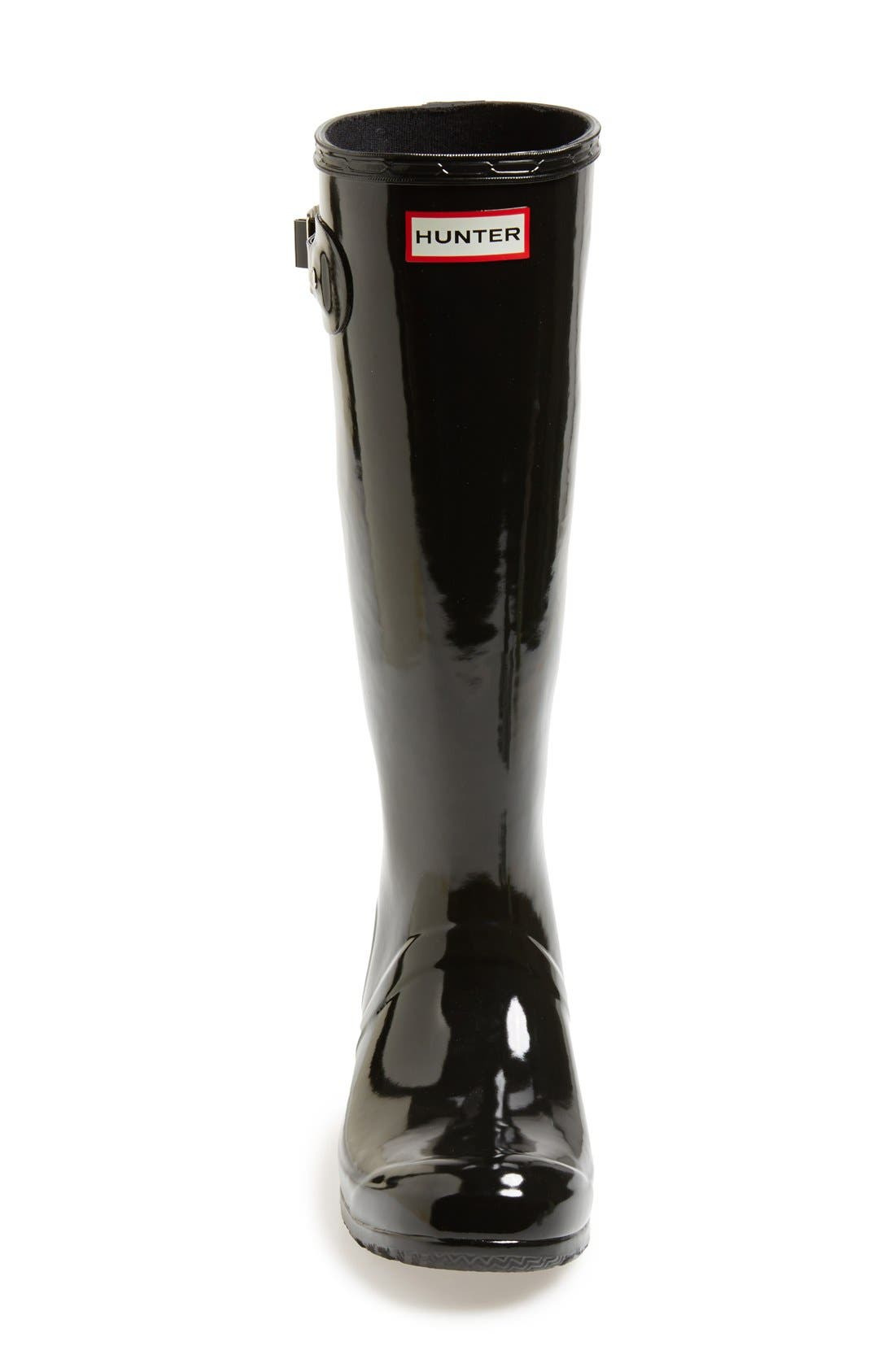 Original Tour Gloss Packable Rain Boot,                             Alternate thumbnail 3, color,                             Black