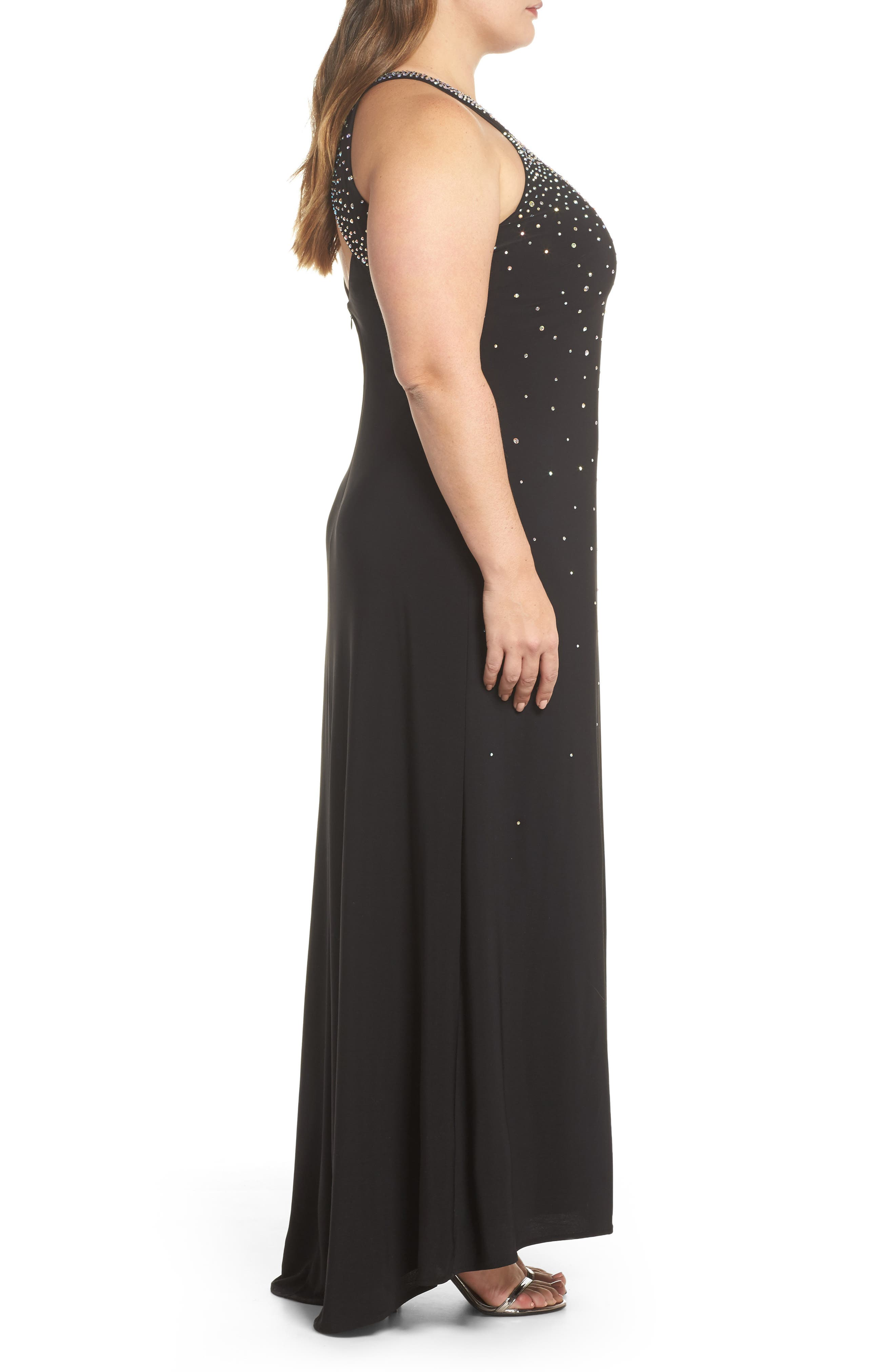 Heat Sealed Stone Knit Gown,                             Alternate thumbnail 3, color,                             Black