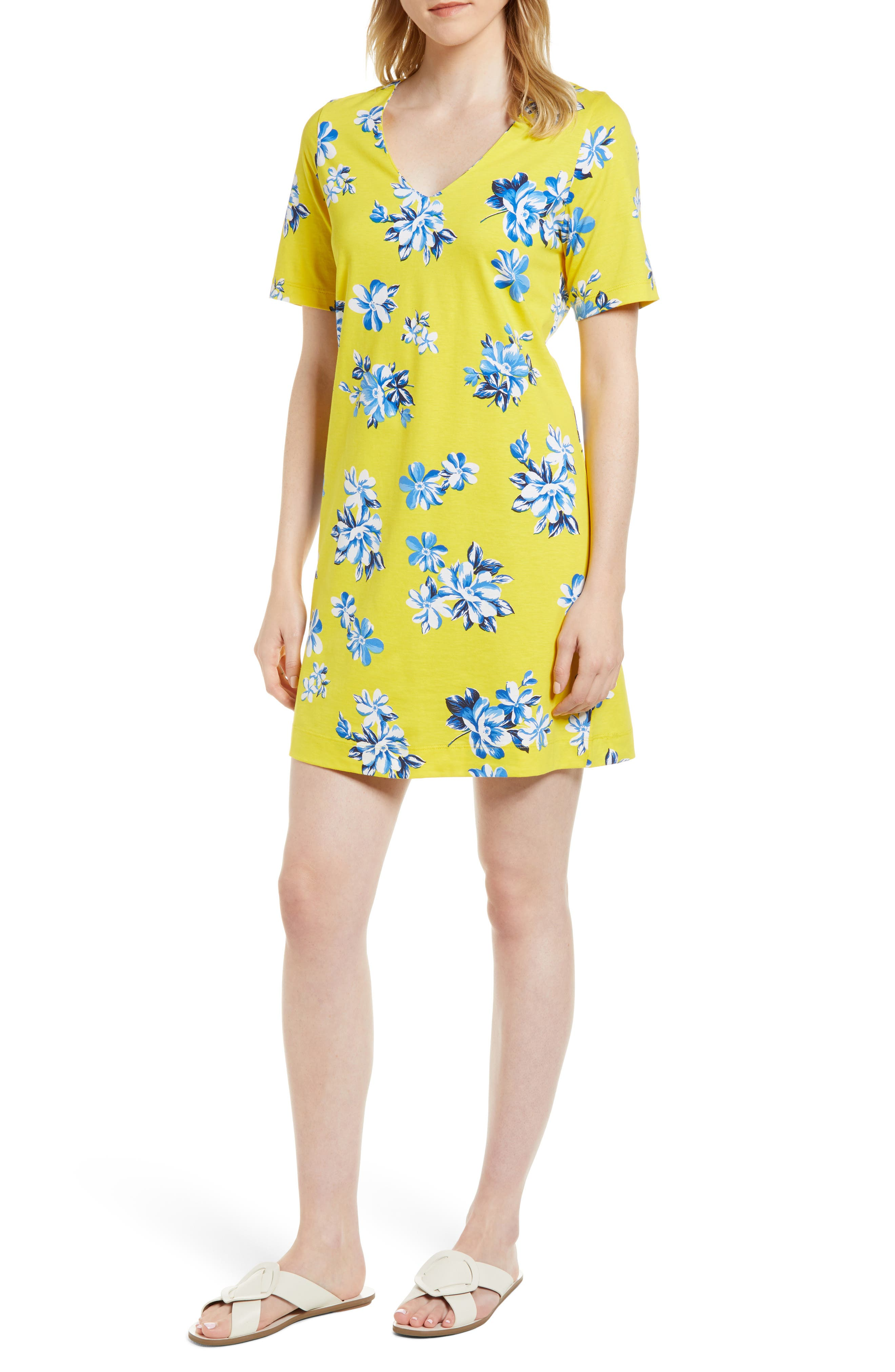 Floral Hillsboro Pima Cotton Shift Dress,                             Main thumbnail 1, color,                             Yellow