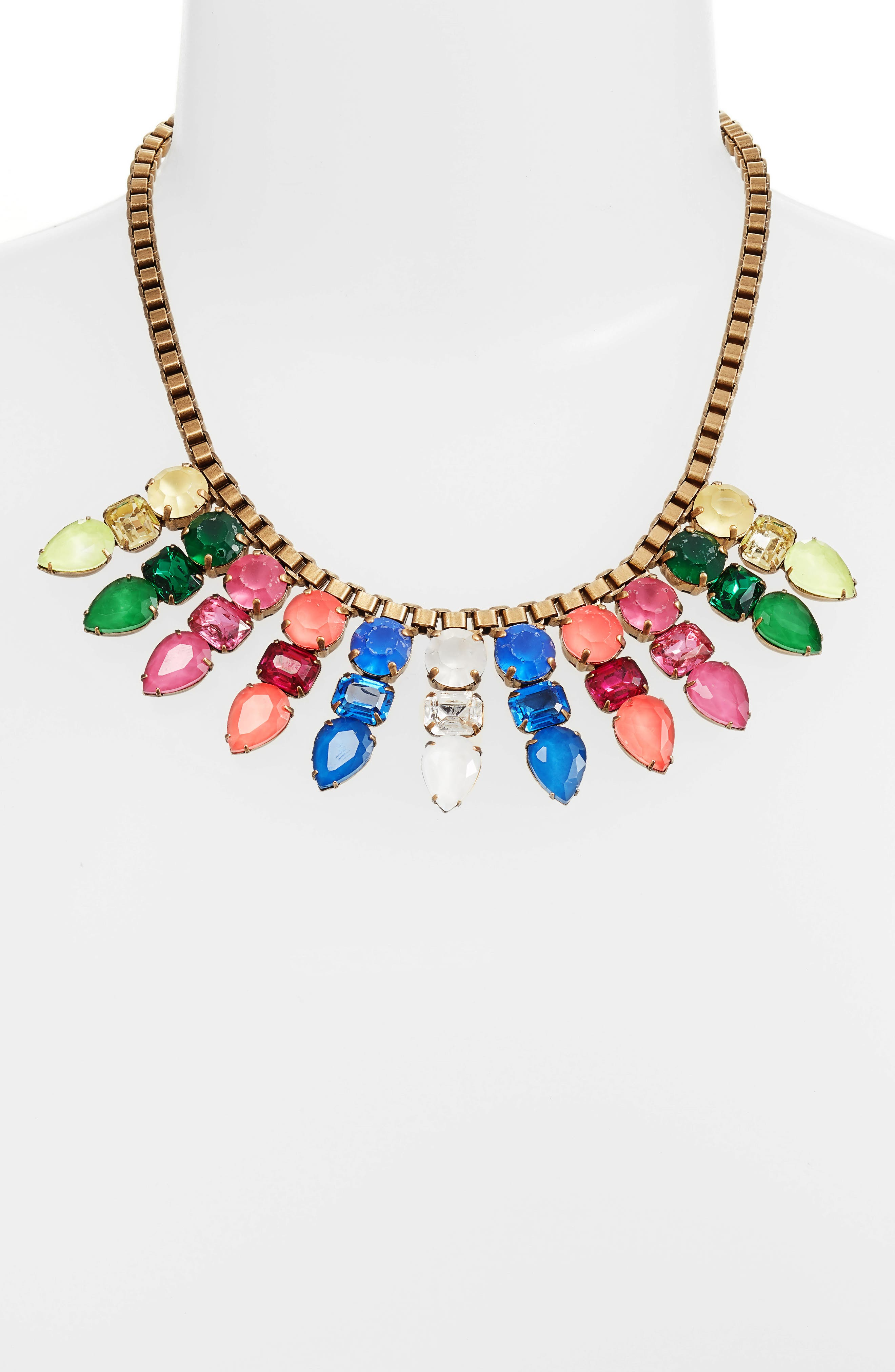 Jewel Bib Necklace,                             Alternate thumbnail 3, color,                             Spring Multi