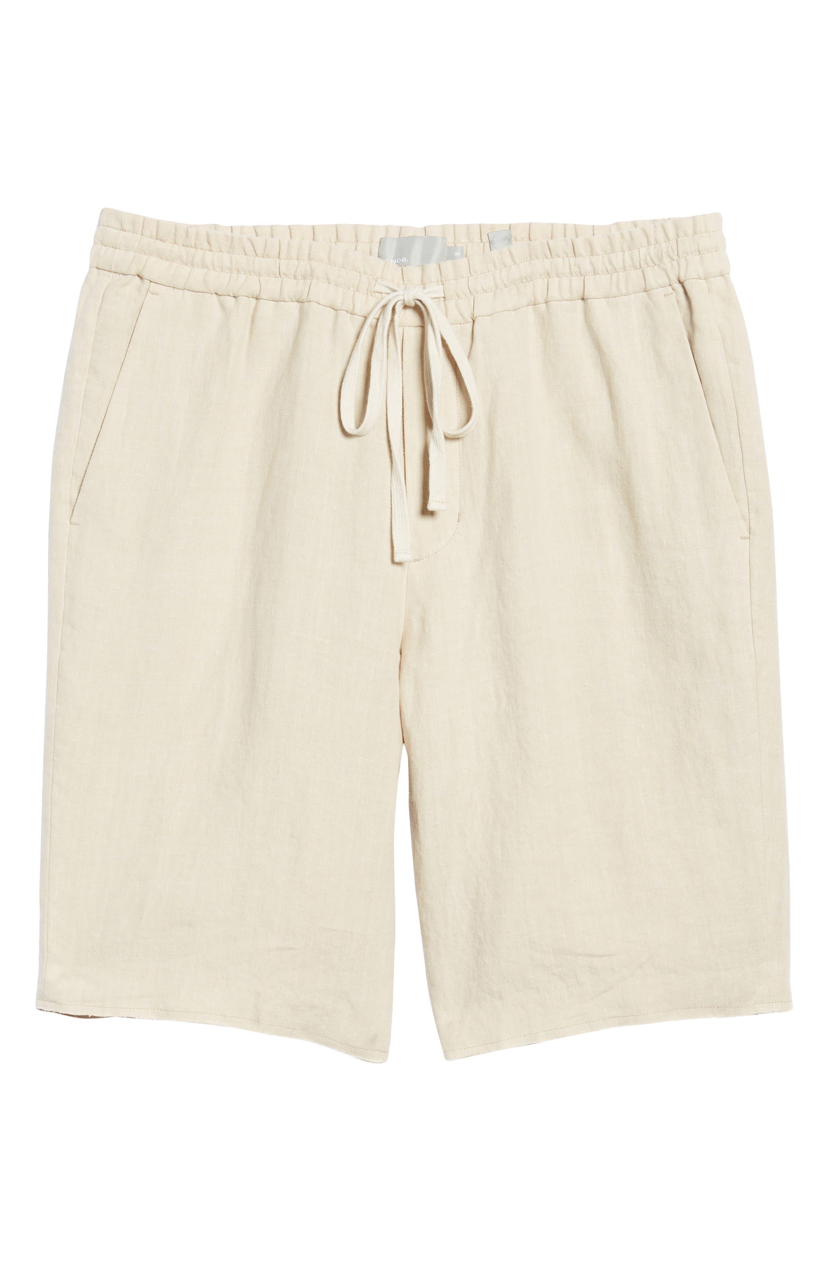 Raw Hem Slim Fit Track Shorts,                             Alternate thumbnail 6, color,                             White Sand