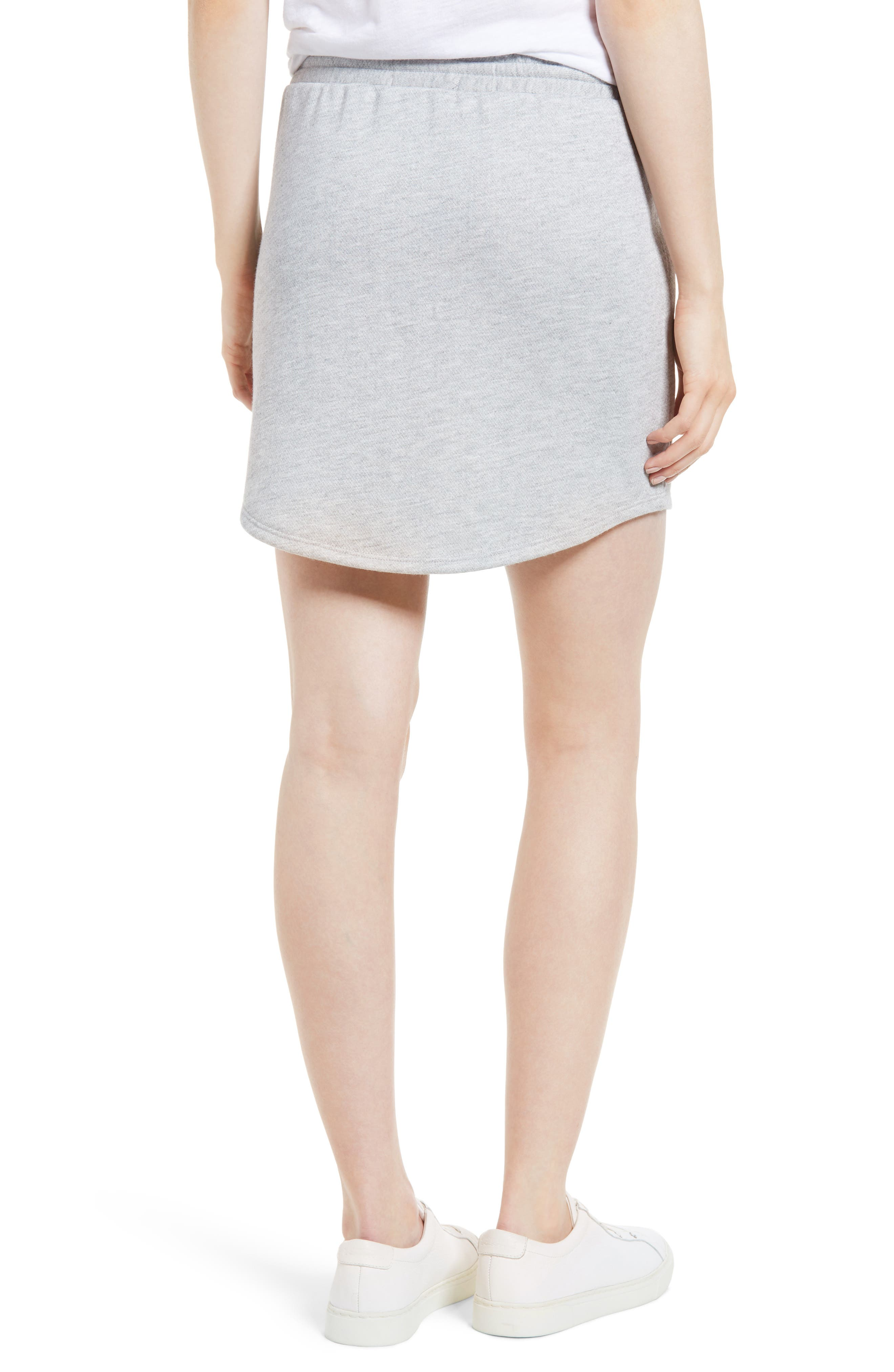 x Living in Yellow Cassidy French Terry Skirt,                             Alternate thumbnail 3, color,                             Heather Grey