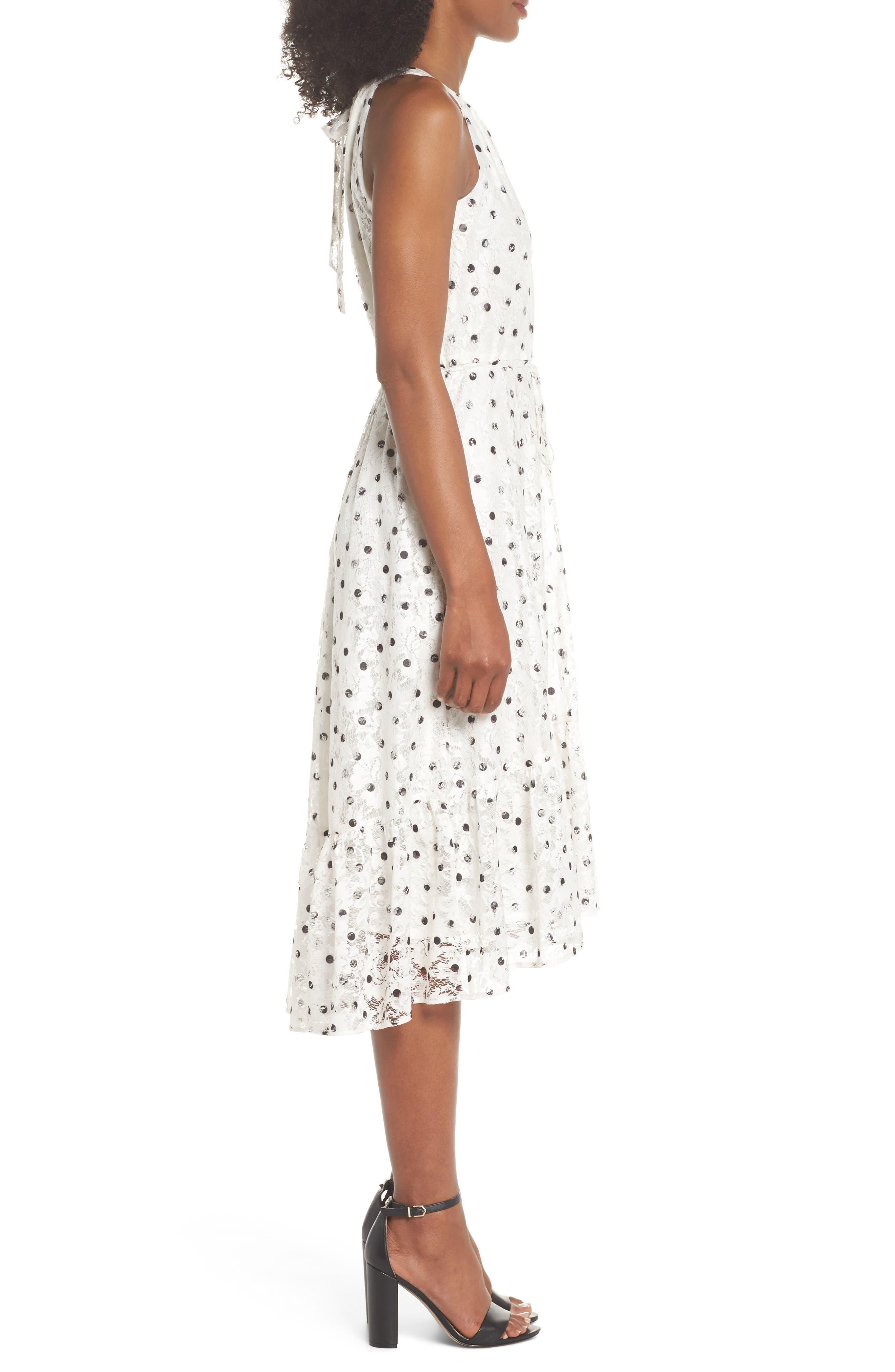 Polka Dot Lace Midi Dress,                             Alternate thumbnail 3, color,                             Ivory/ Black