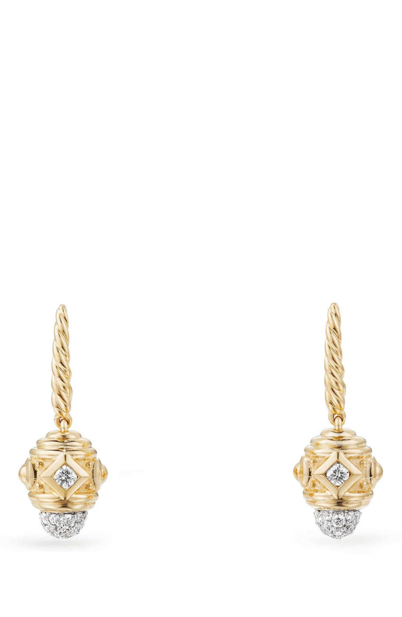 David Yurman Renaissance Drop Earrings with Diamonds in 18K Gold