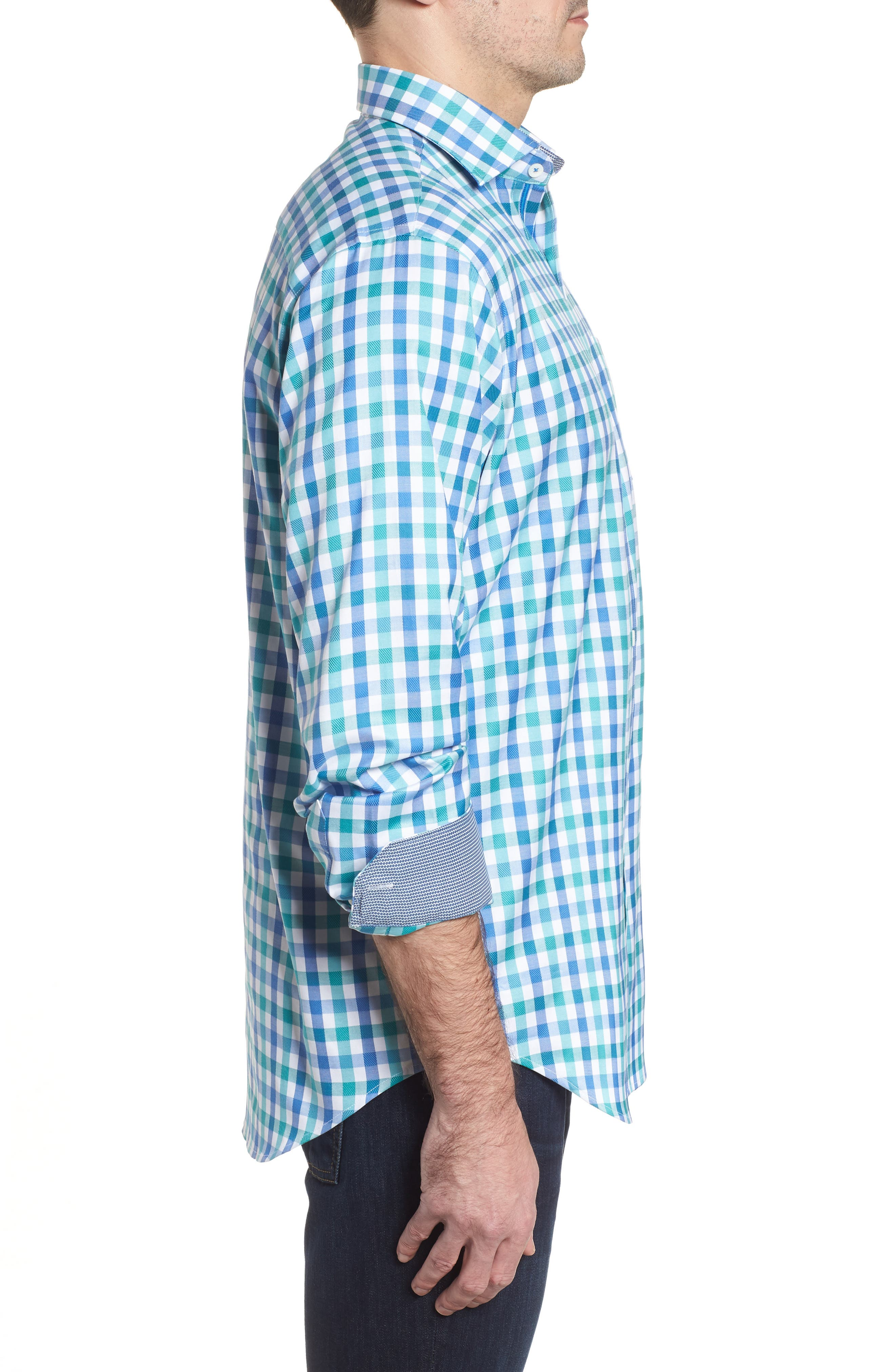Classic Fit Gingham Check Sport Shirt,                             Alternate thumbnail 3, color,                             Emerald