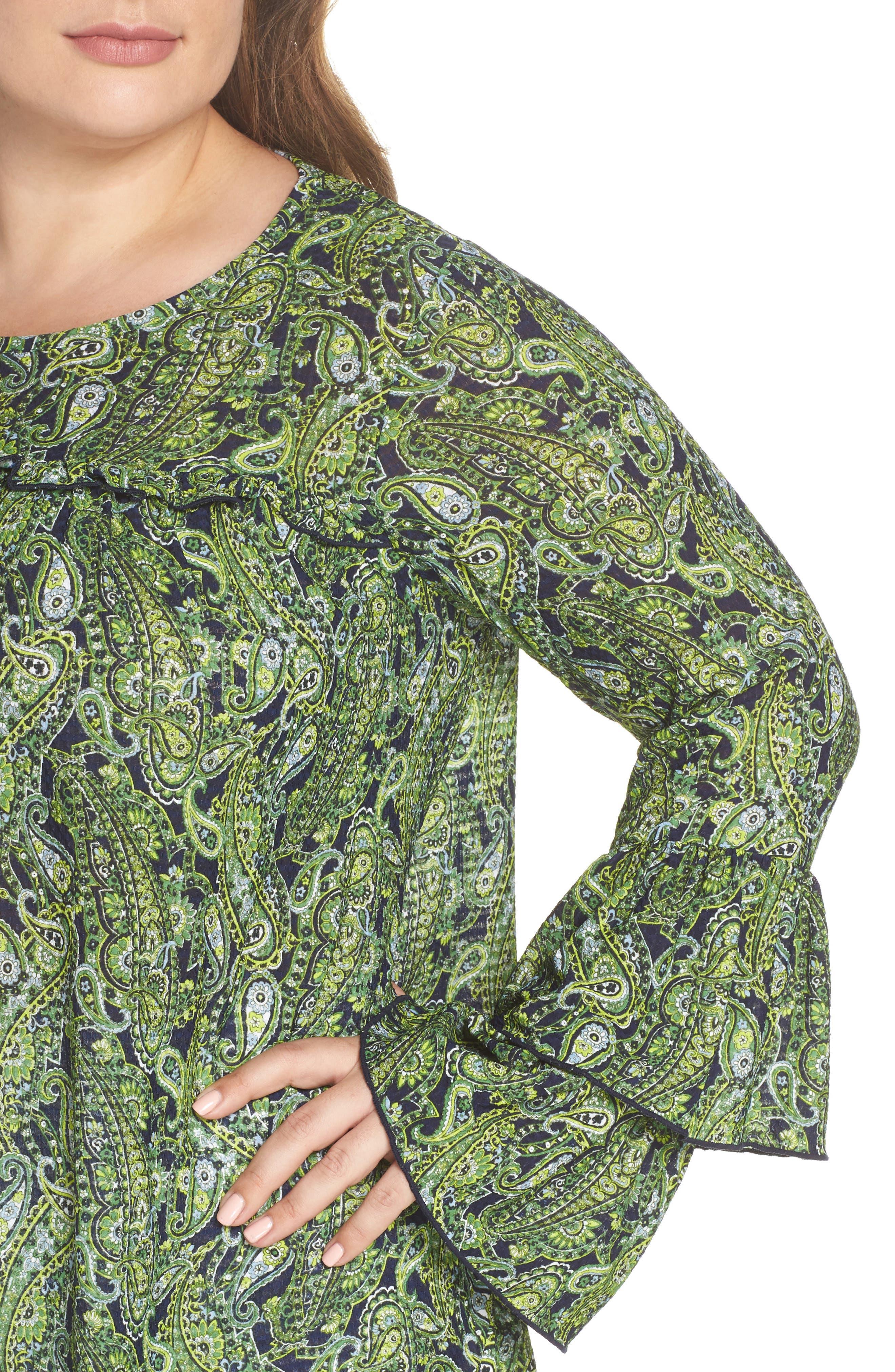 Pais Tier Sleeve Blouse,                             Alternate thumbnail 4, color,                             True Navy/ Green Apple Mu