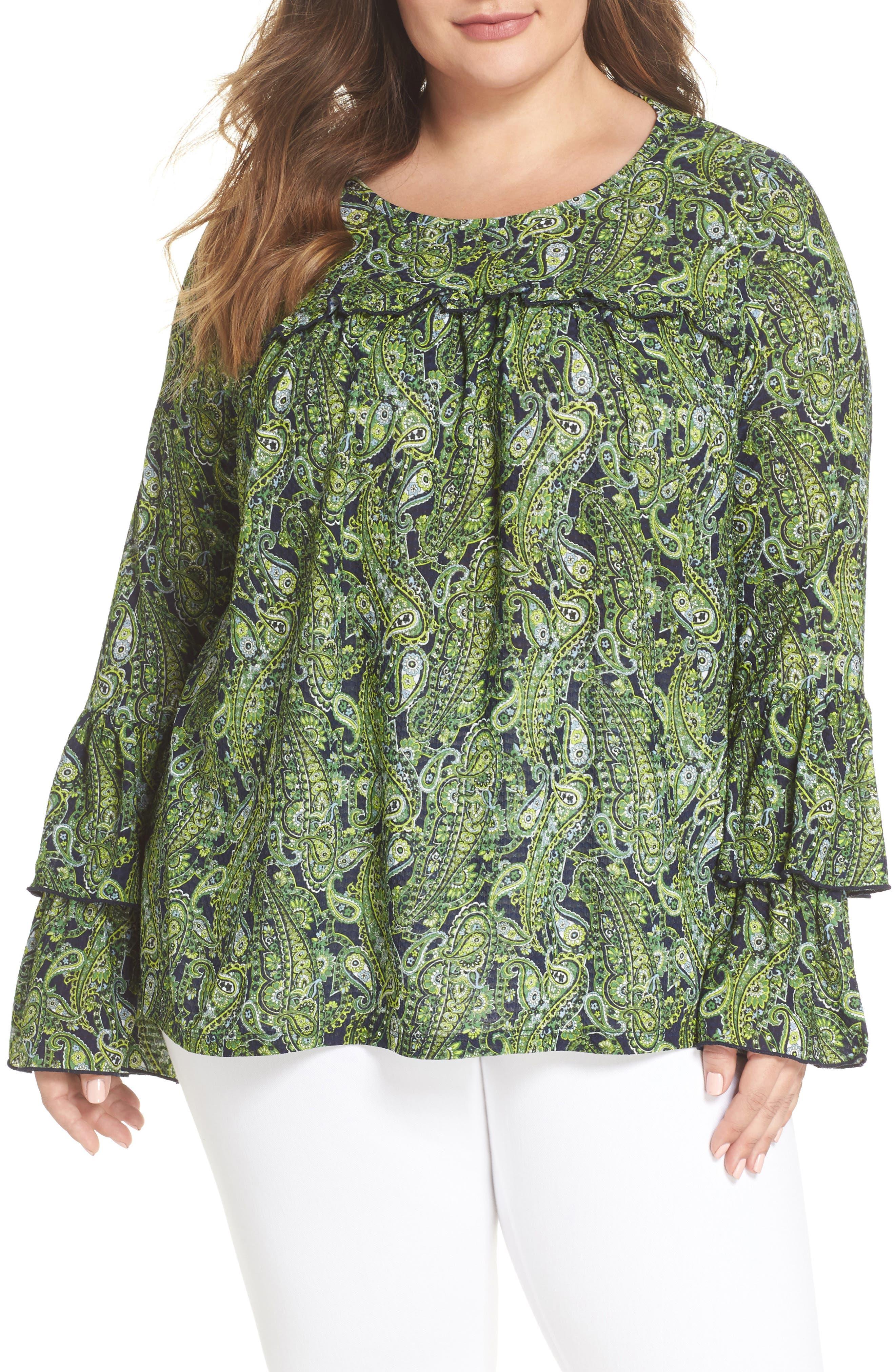 Pais Tier Sleeve Blouse,                         Main,                         color, True Navy/ Green Apple Mu