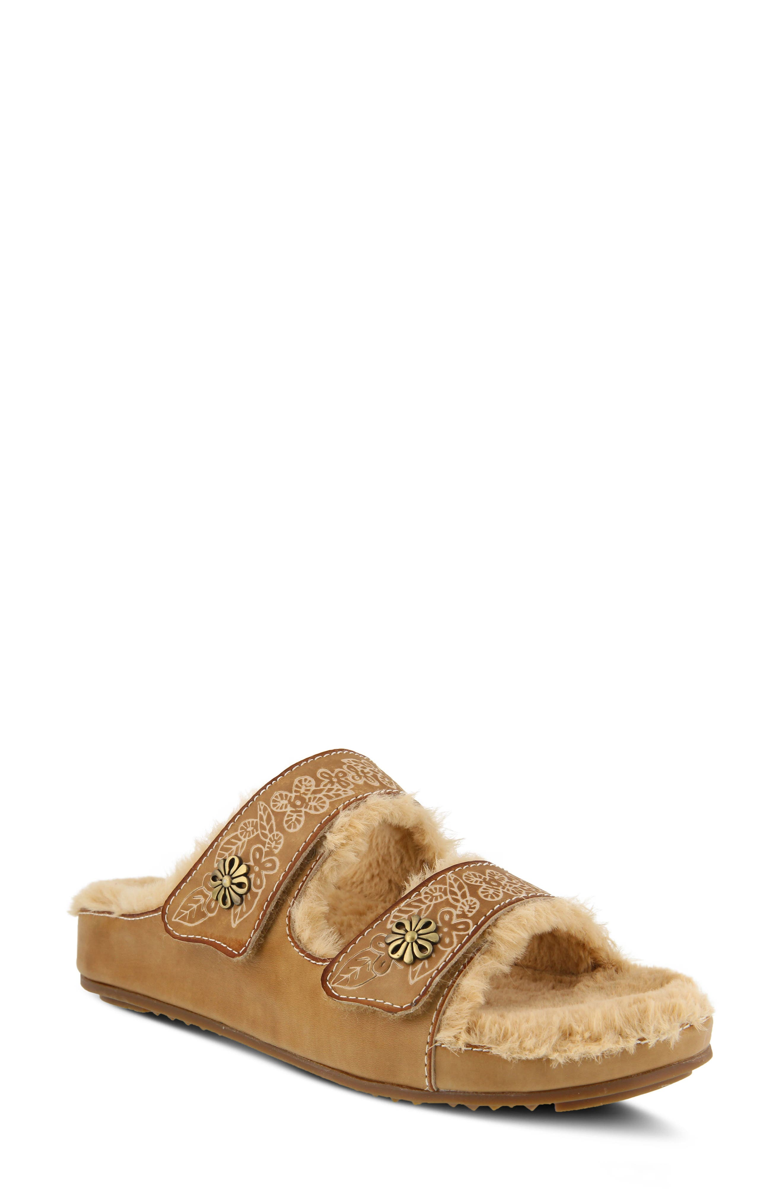 L'Artiste Furrie Sandal,                             Main thumbnail 1, color,                             Beige Leather