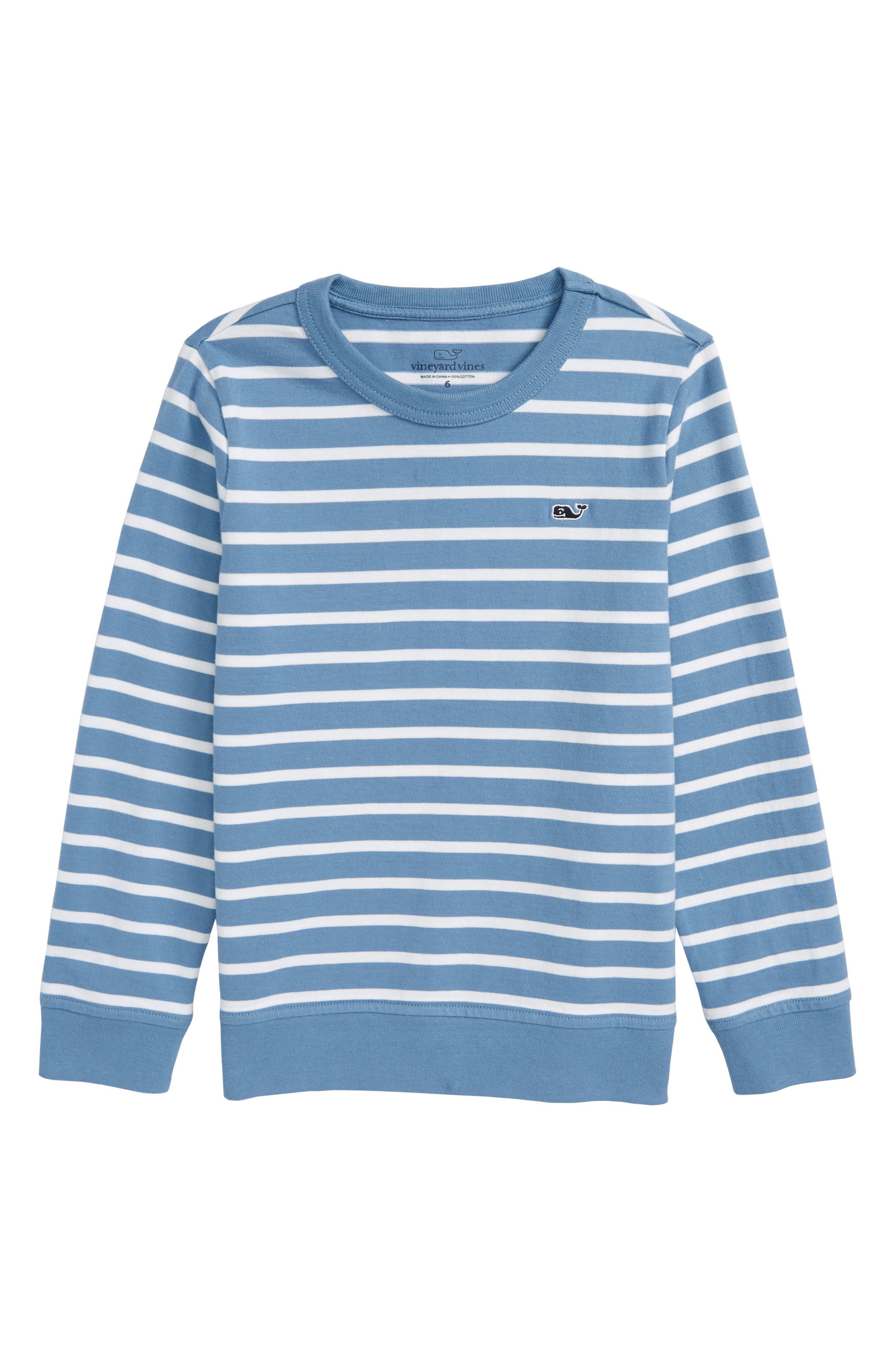 Stripe Crewneck Sweater,                             Main thumbnail 1, color,                             Dockside Blue