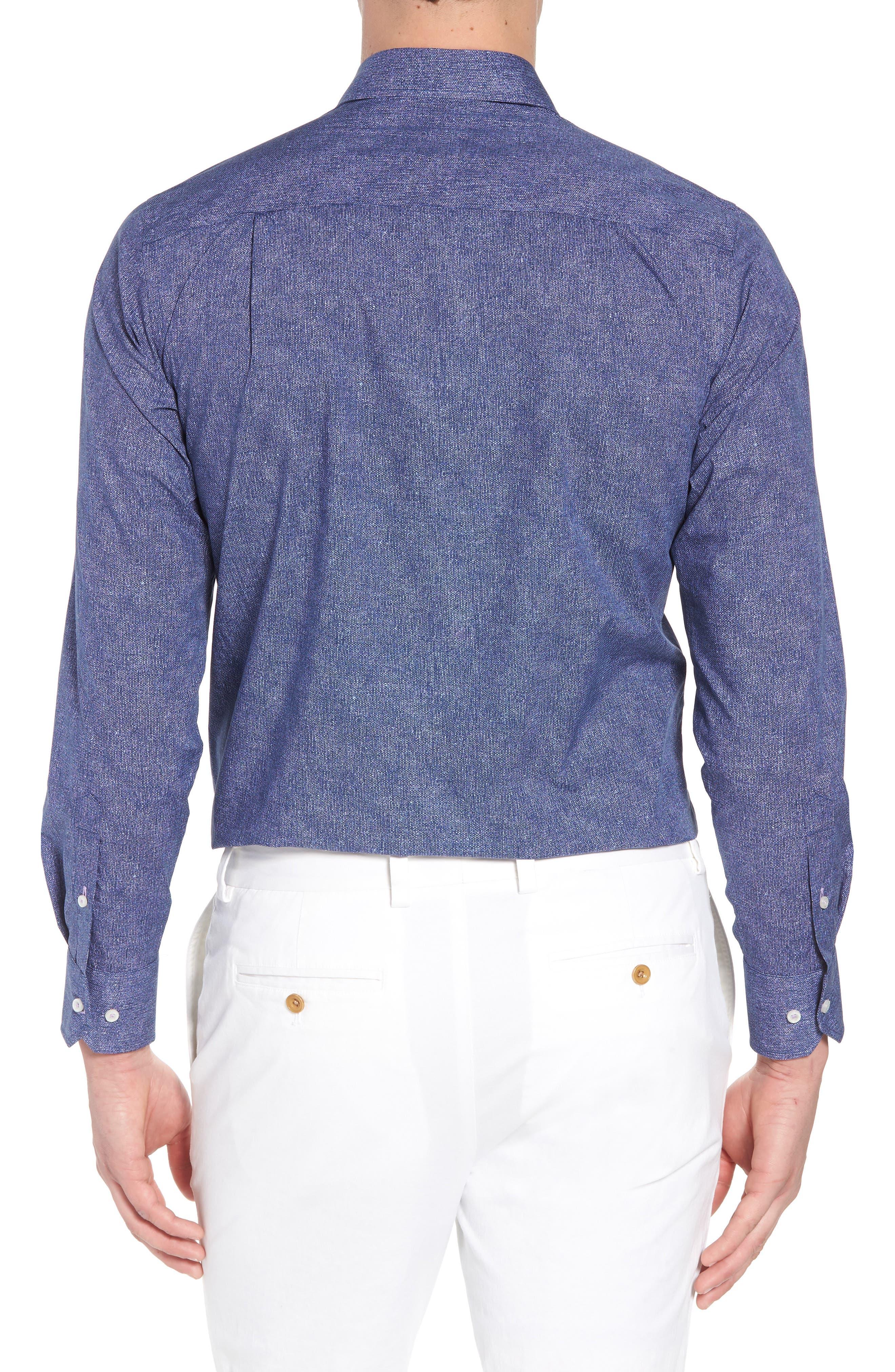 Regular Fit Microprint Sport Shirt,                             Alternate thumbnail 2, color,                             Navy/ Purple