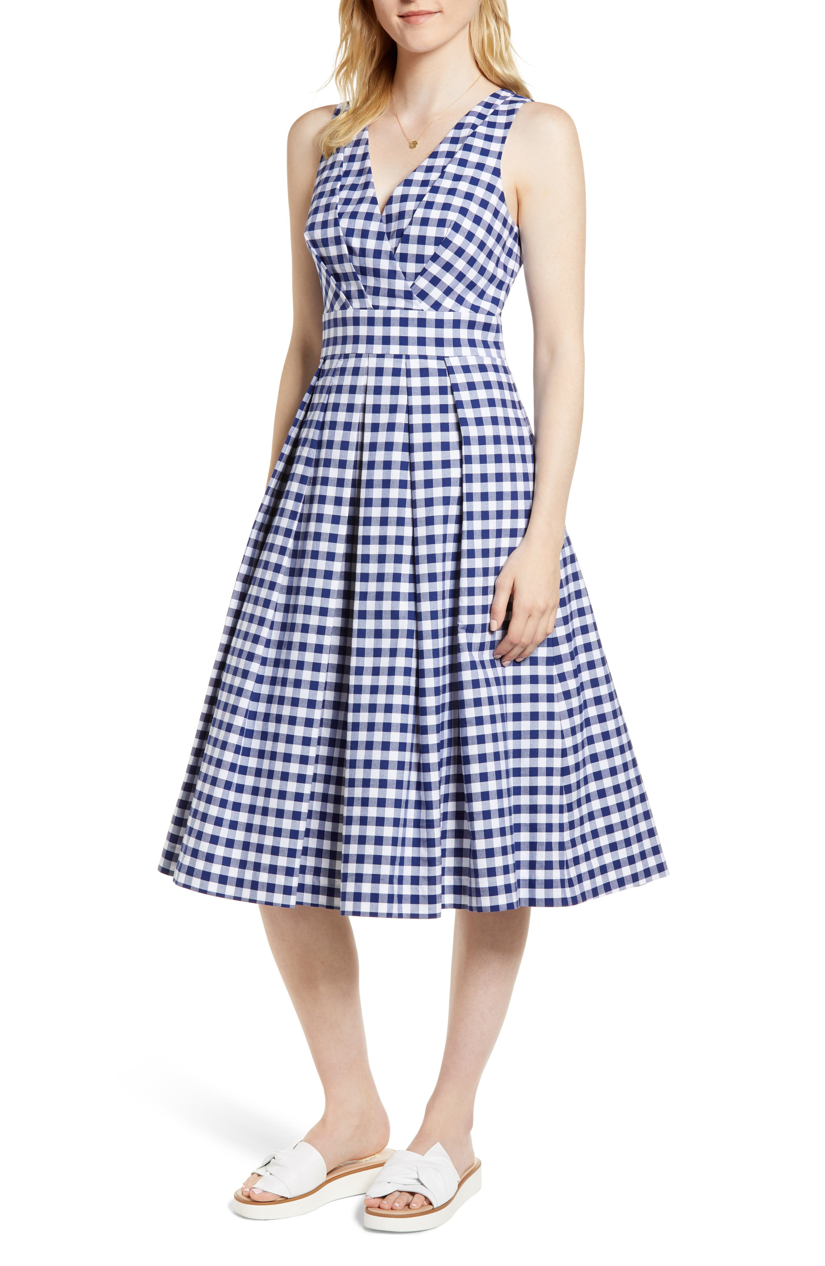 Gingham Fit & Flare Midi Dress,                             Main thumbnail 1, color,                             Navy Gingham