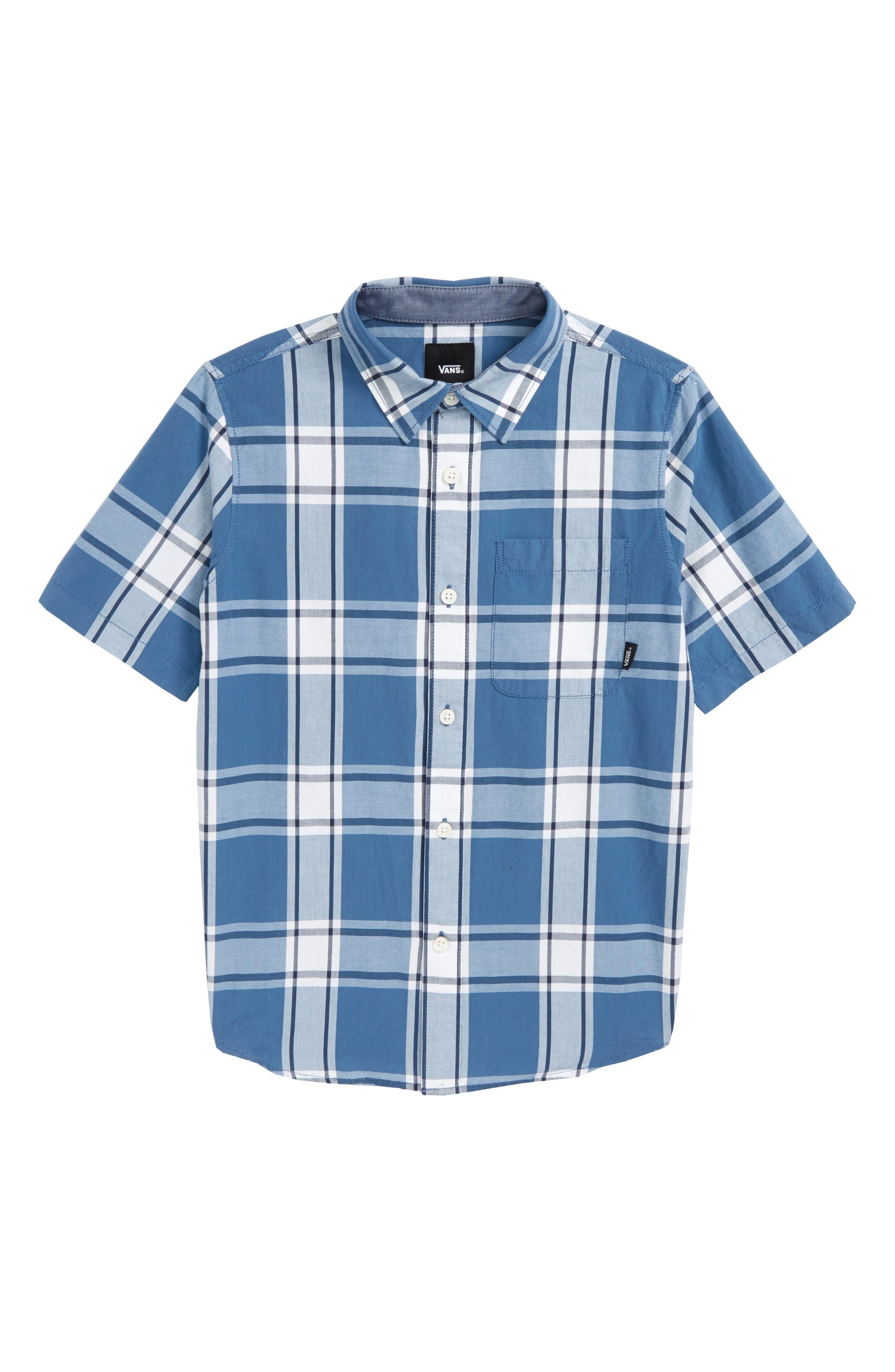 Mayfield Plaid Woven Shirt,                             Main thumbnail 1, color,                             Copen Blue