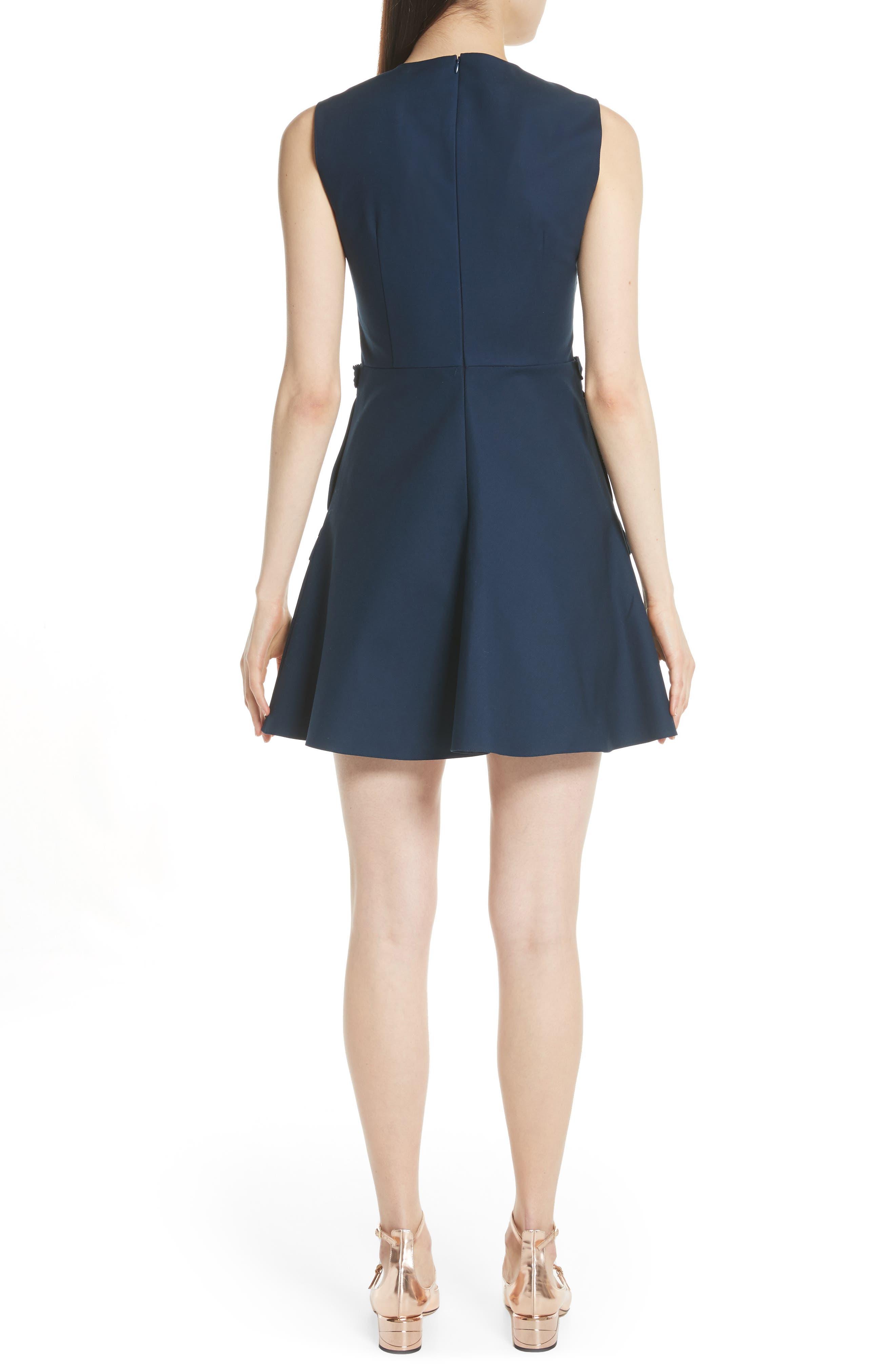 Ruffle Pocket A-Line Dress,                             Alternate thumbnail 2, color,                             Oceano