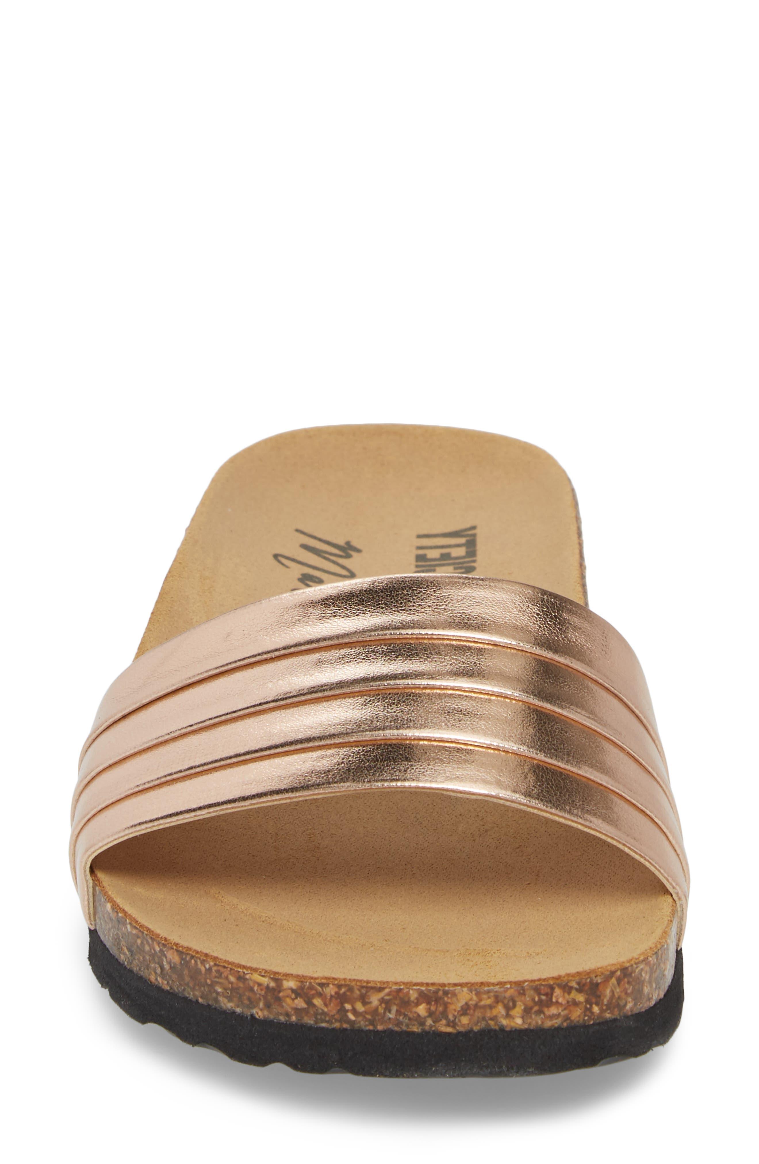 Santos Slide Sandal,                             Alternate thumbnail 4, color,                             Rose Gold Faux Leather
