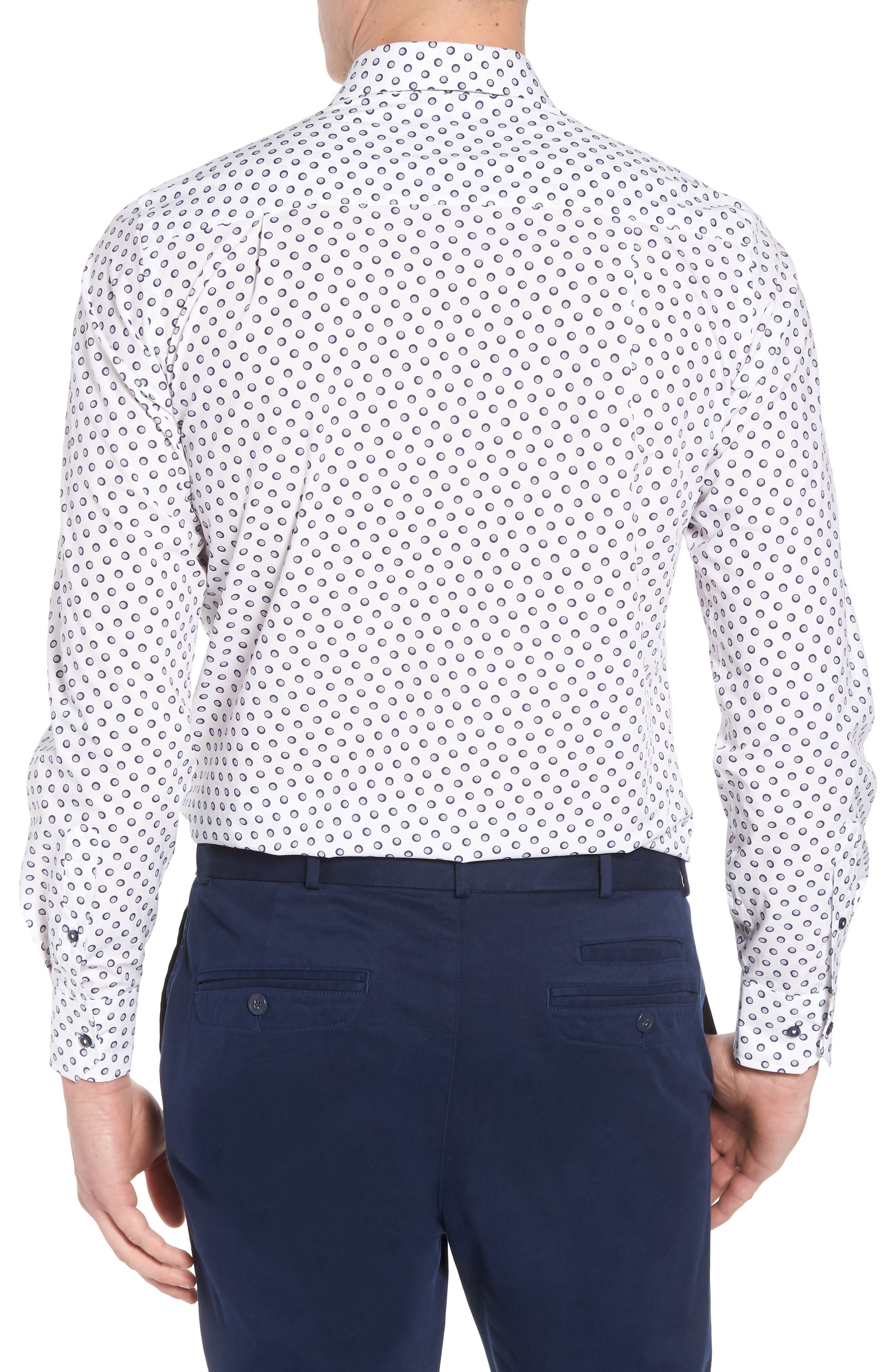 Regular Fit Dot Print Sport Shirt,                             Alternate thumbnail 2, color,                             White/ Navy