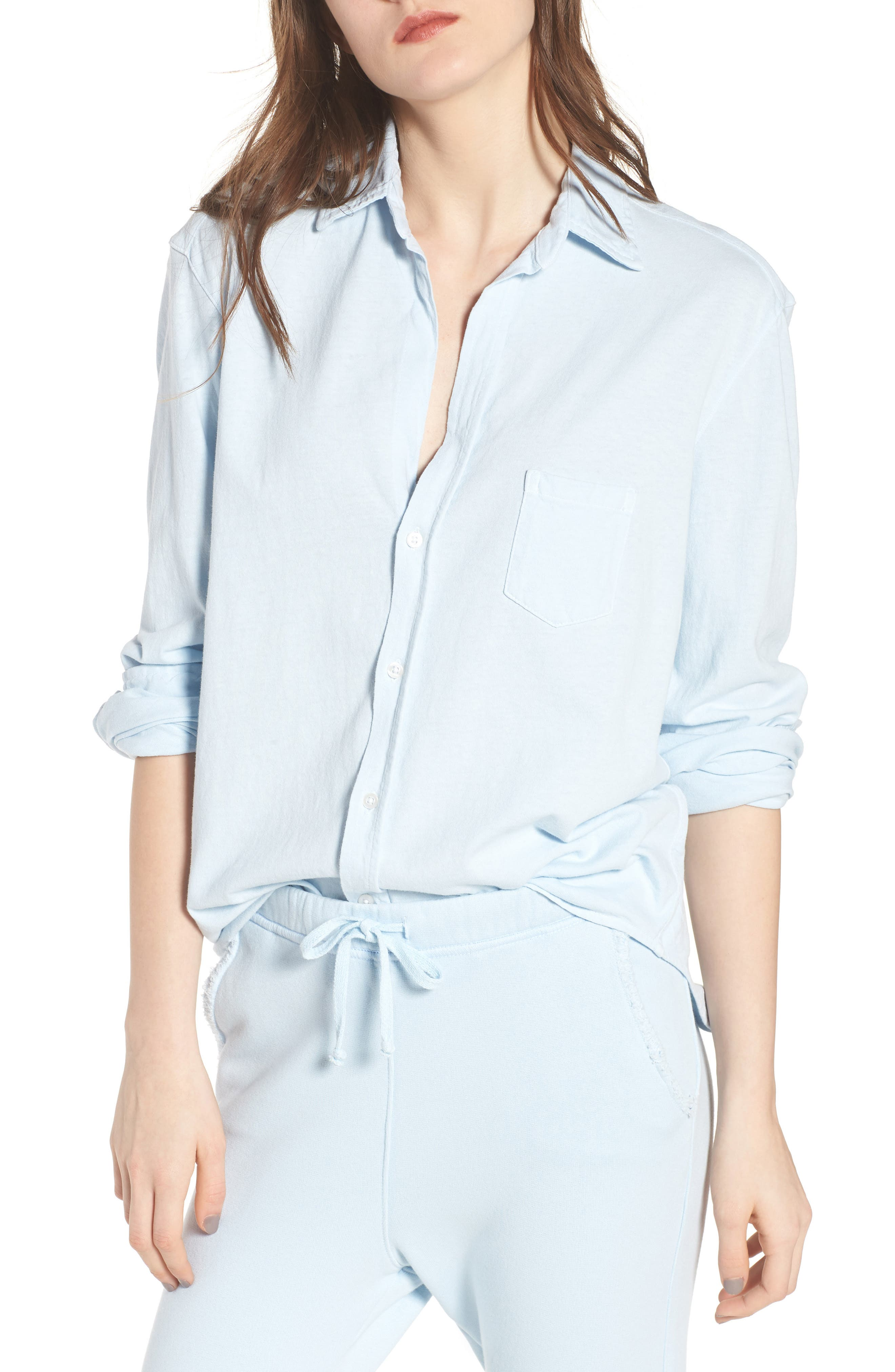 Knit Button Front Shirt,                             Main thumbnail 1, color,                             Mali-Blue