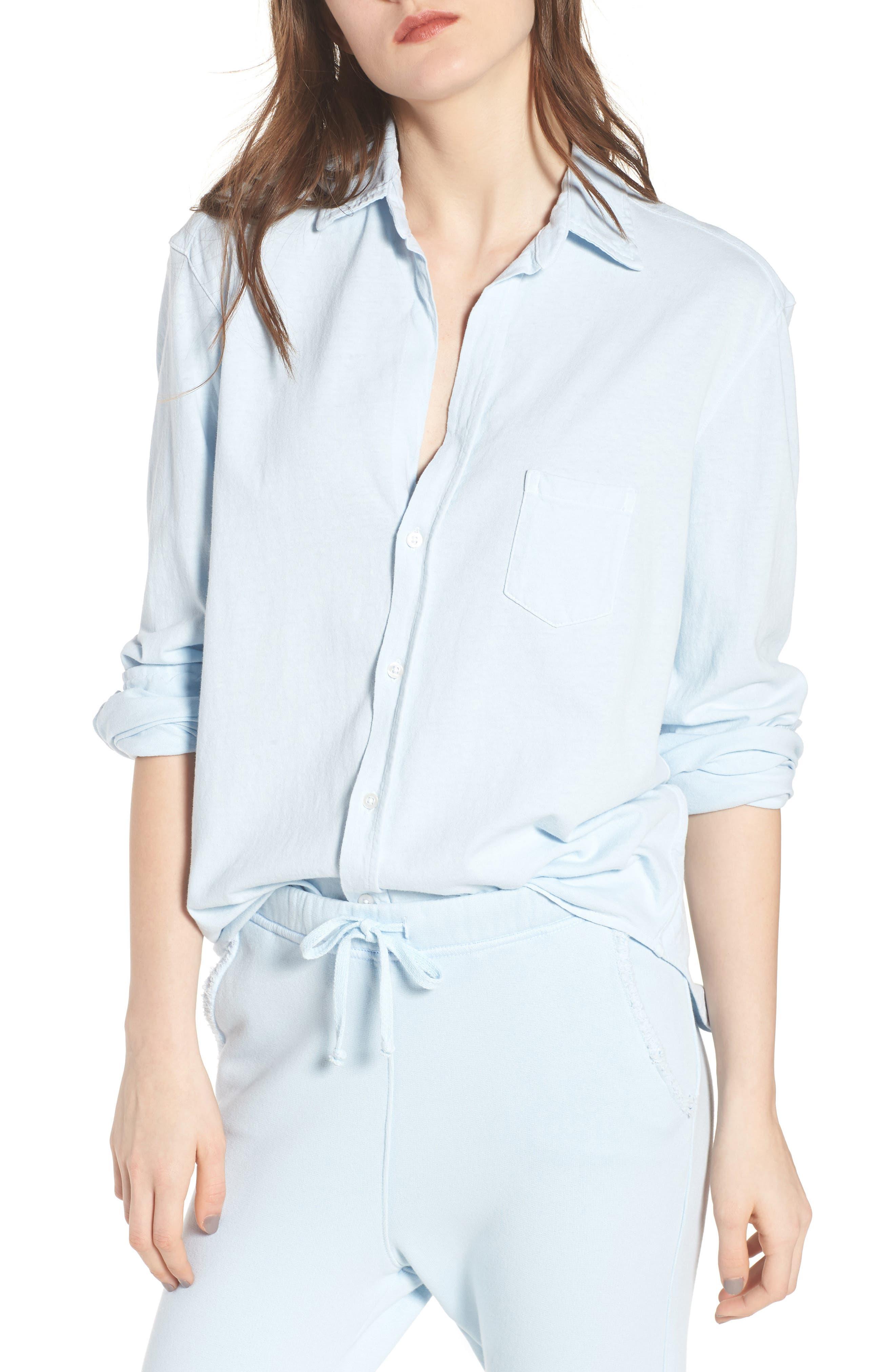Knit Button Front Shirt,                         Main,                         color, Mali-Blue