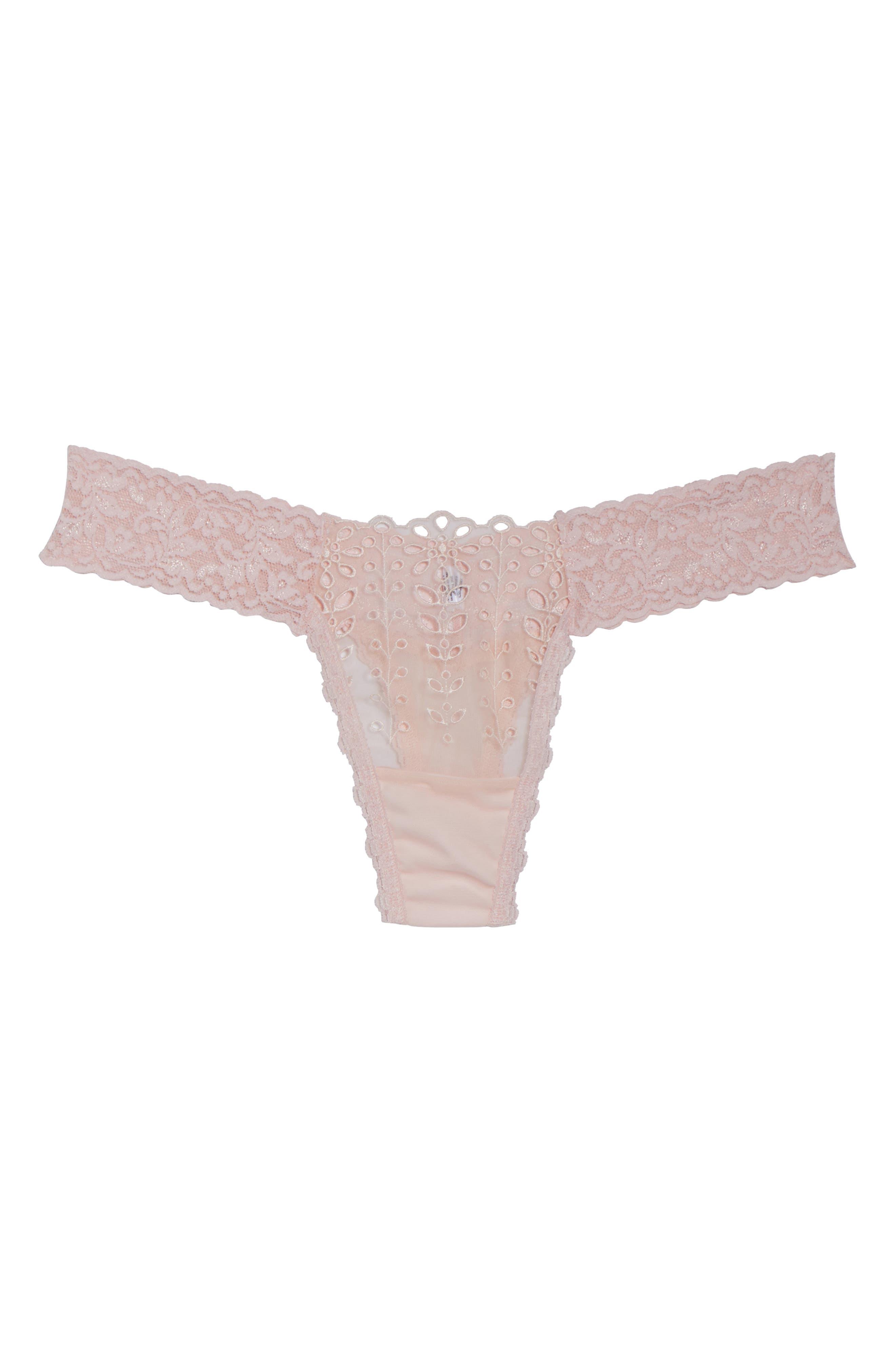 Eyelet & Lace Thong,                             Alternate thumbnail 4, color,                             Blushing Pink