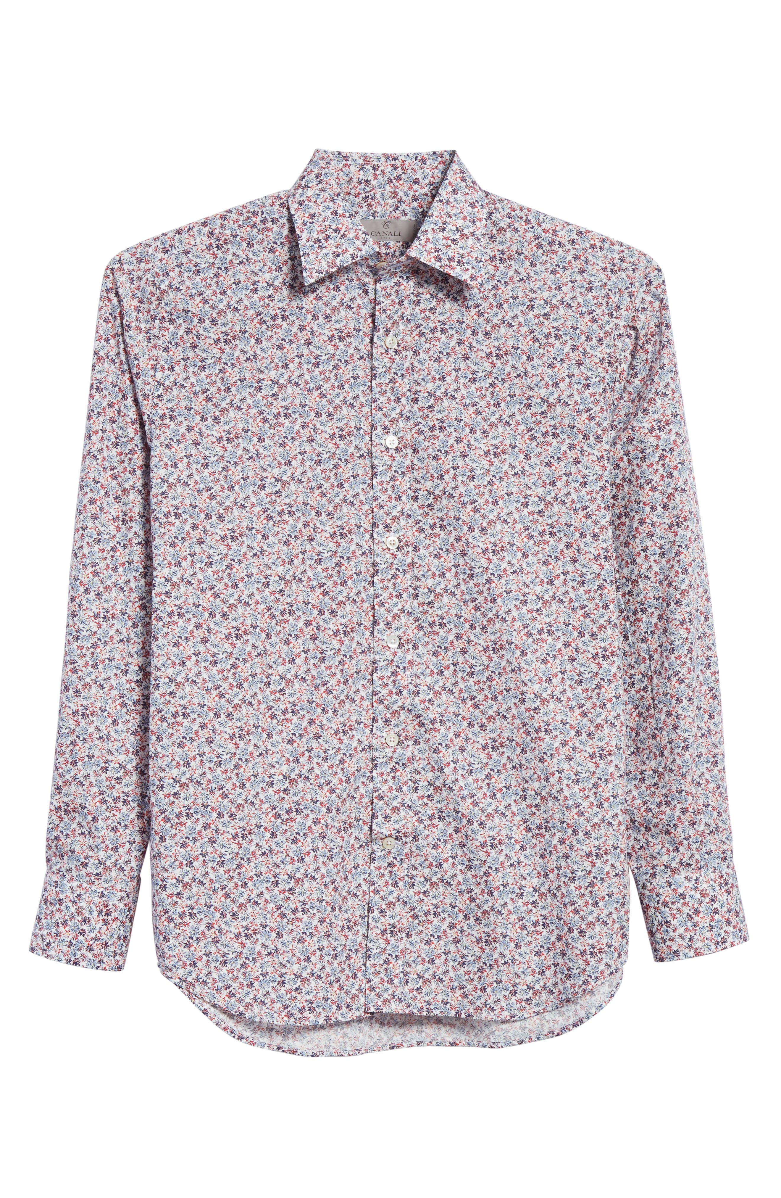 Regular Fit Floral Sport Shirt,                             Alternate thumbnail 6, color,                             White/ Red/ Navy