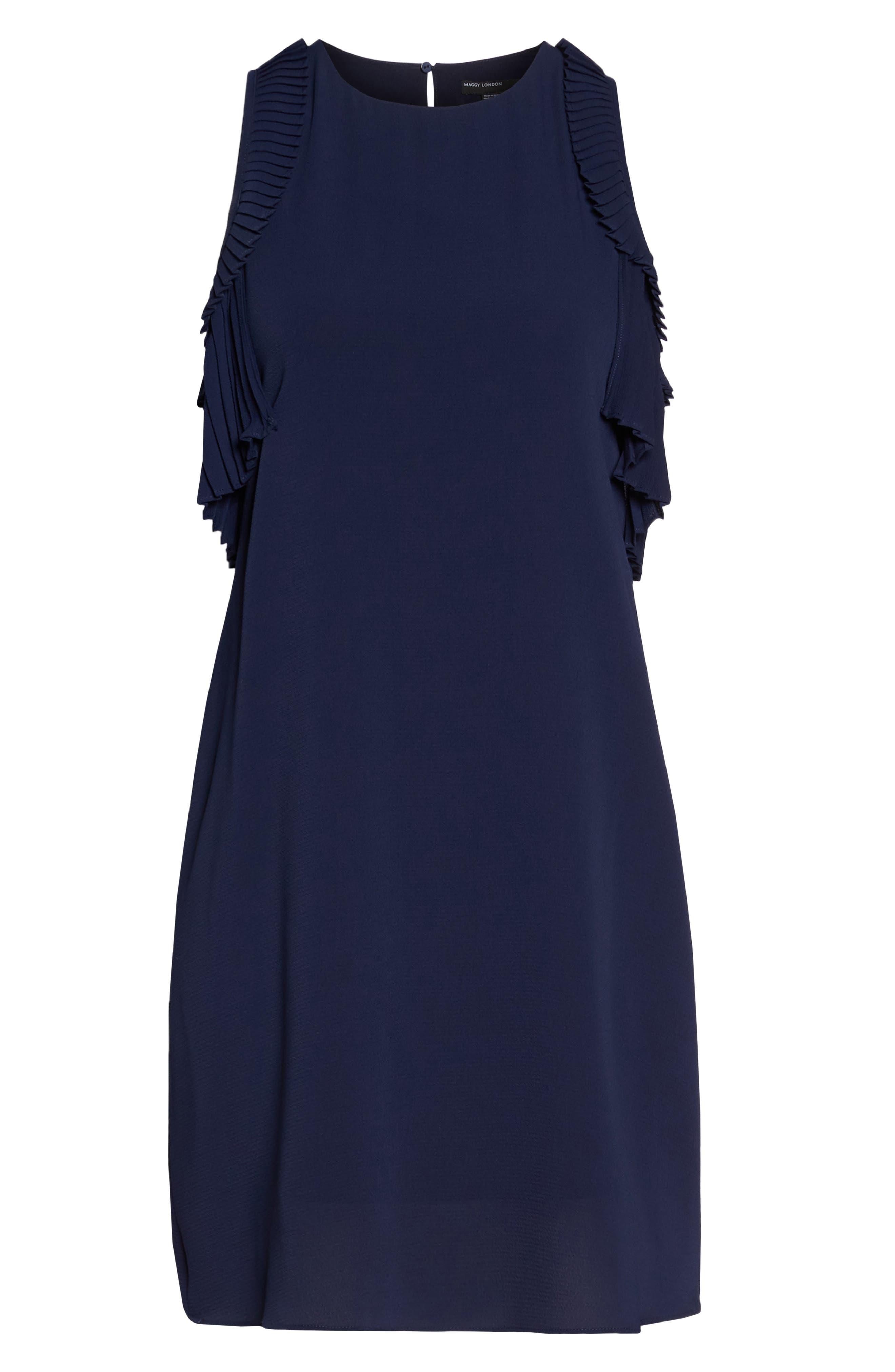Cold Shoulder Shift Dress,                             Alternate thumbnail 7, color,                             Galaxy Blue