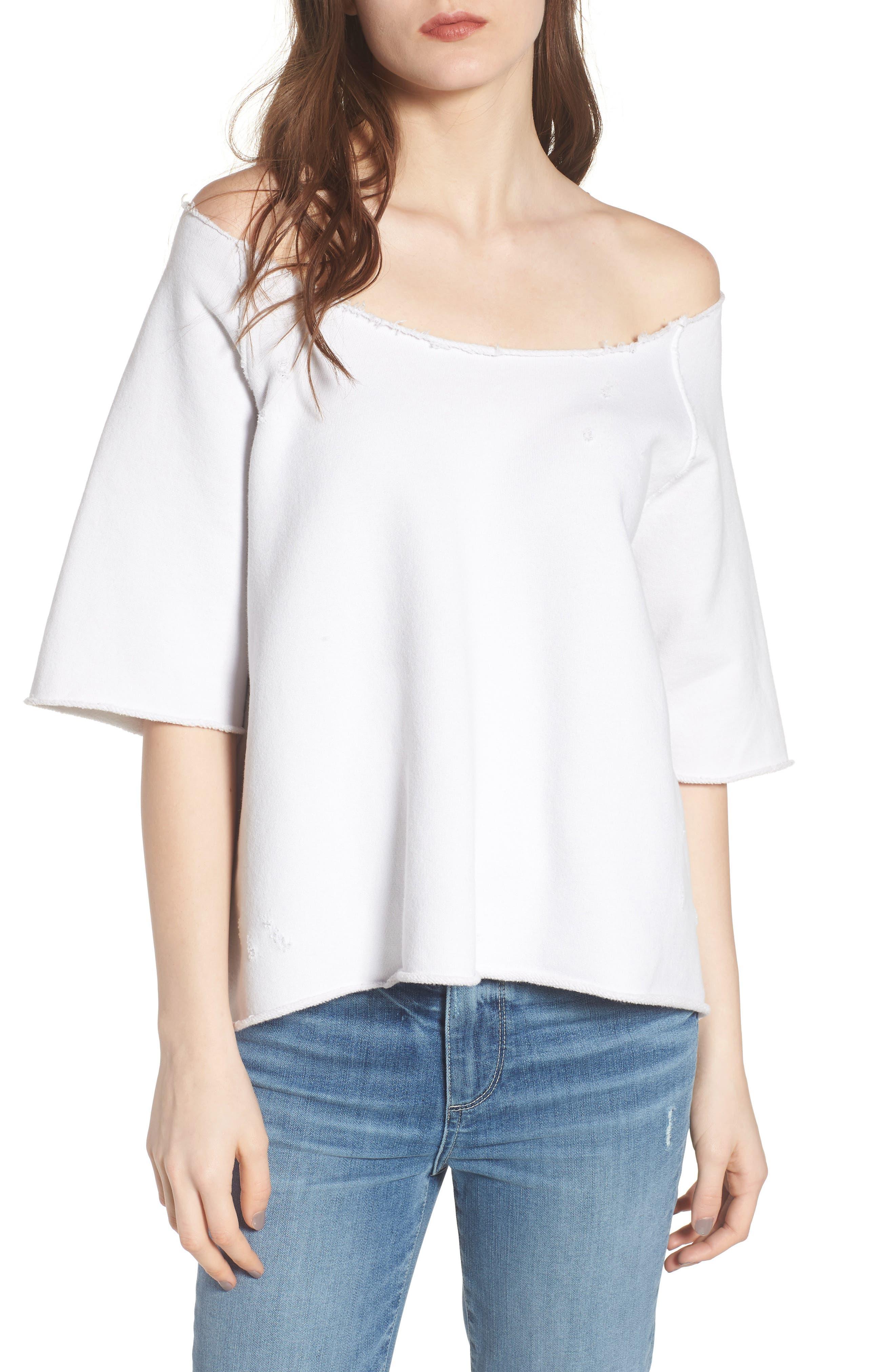 Raglan Off the Shoulder Sweatshirt,                         Main,                         color, Dirty White 10 Yr Vintage Wash