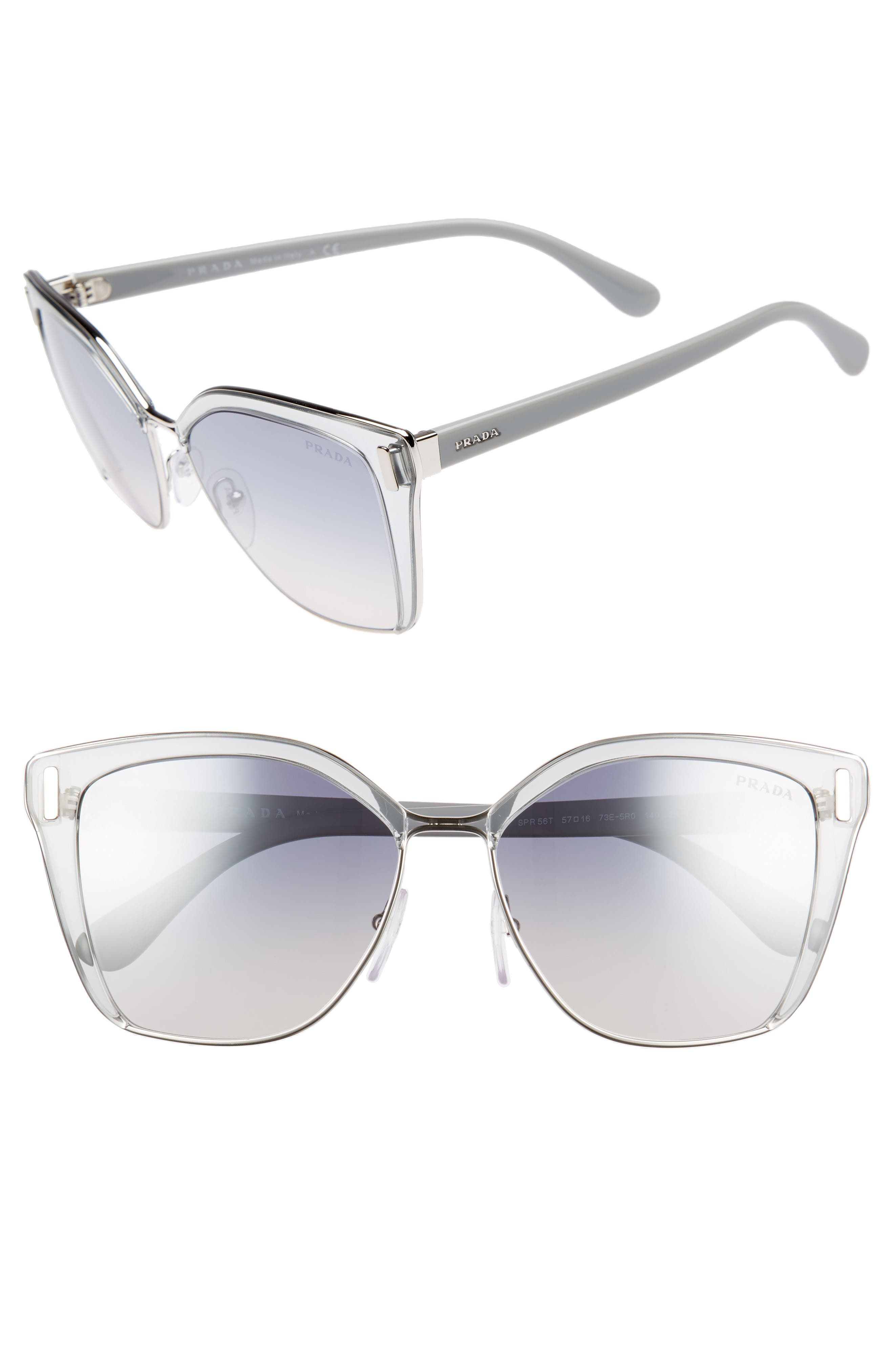 Prada 54mm Gradient Geometric Sunglasses