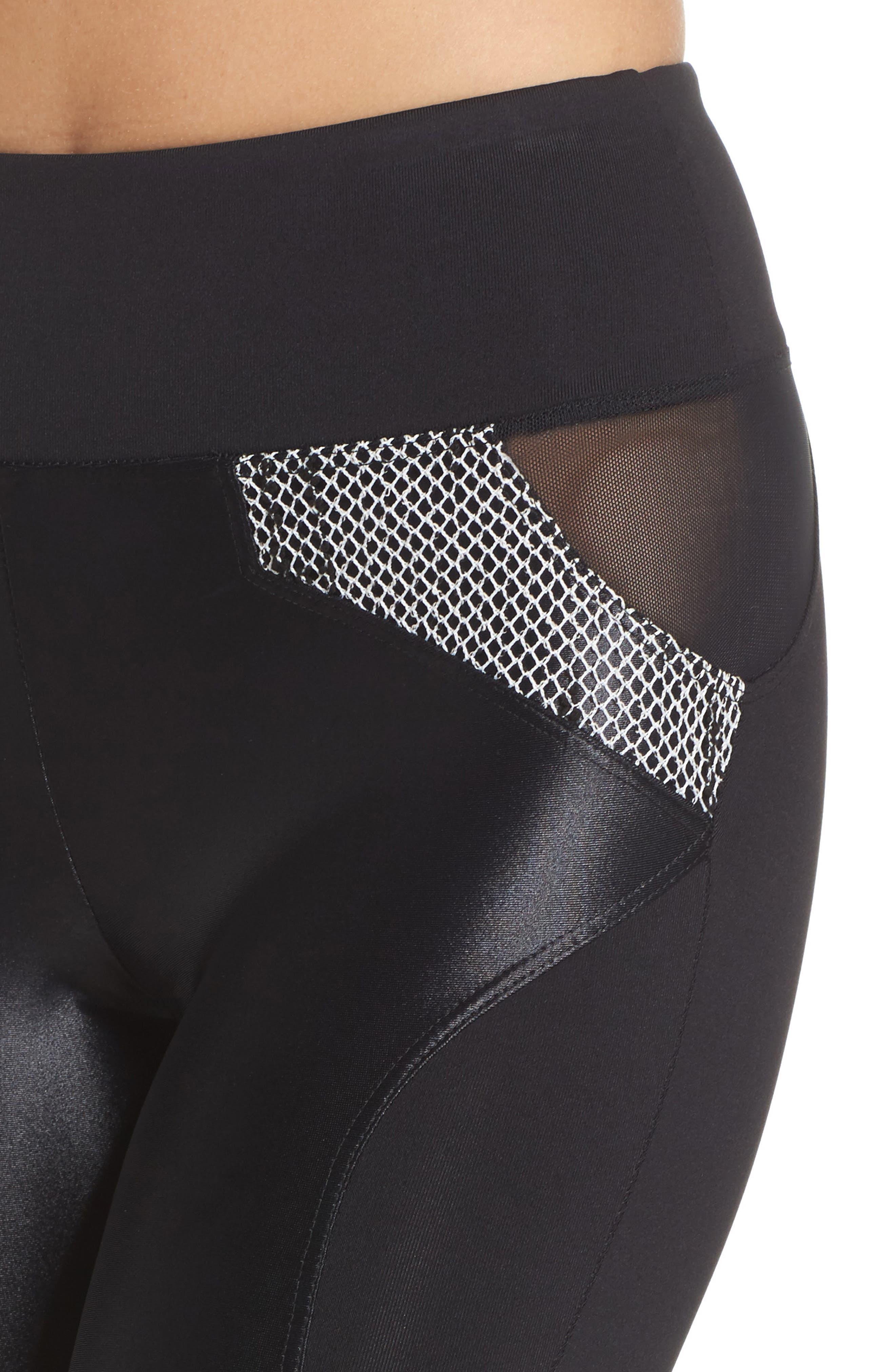 Waves High Waist Leggings,                             Alternate thumbnail 4, color,                             Black/ Weave