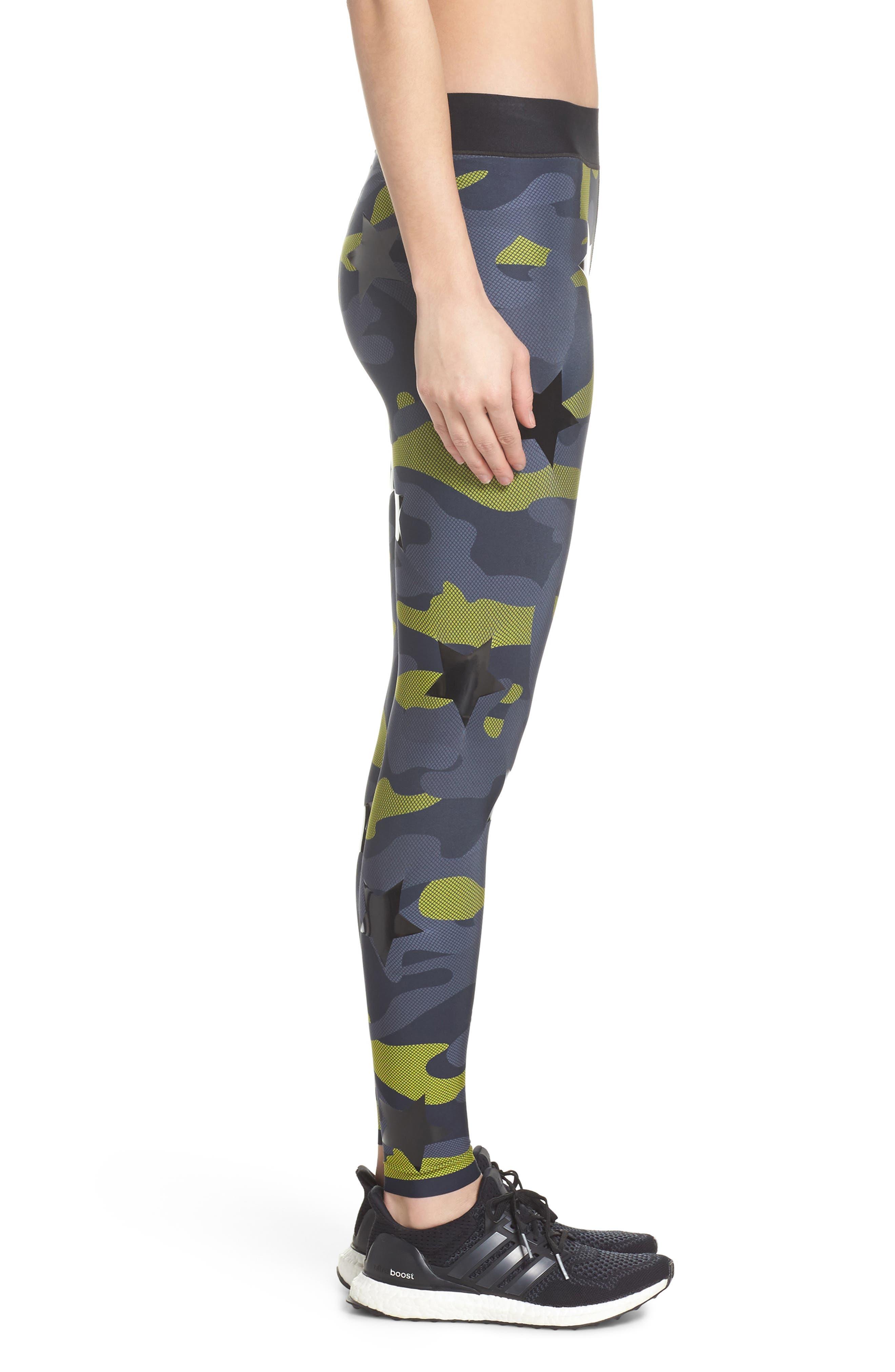 Camo Tech Knockout Leggings,                             Alternate thumbnail 3, color,                             Chartreuse/ Patent Nero