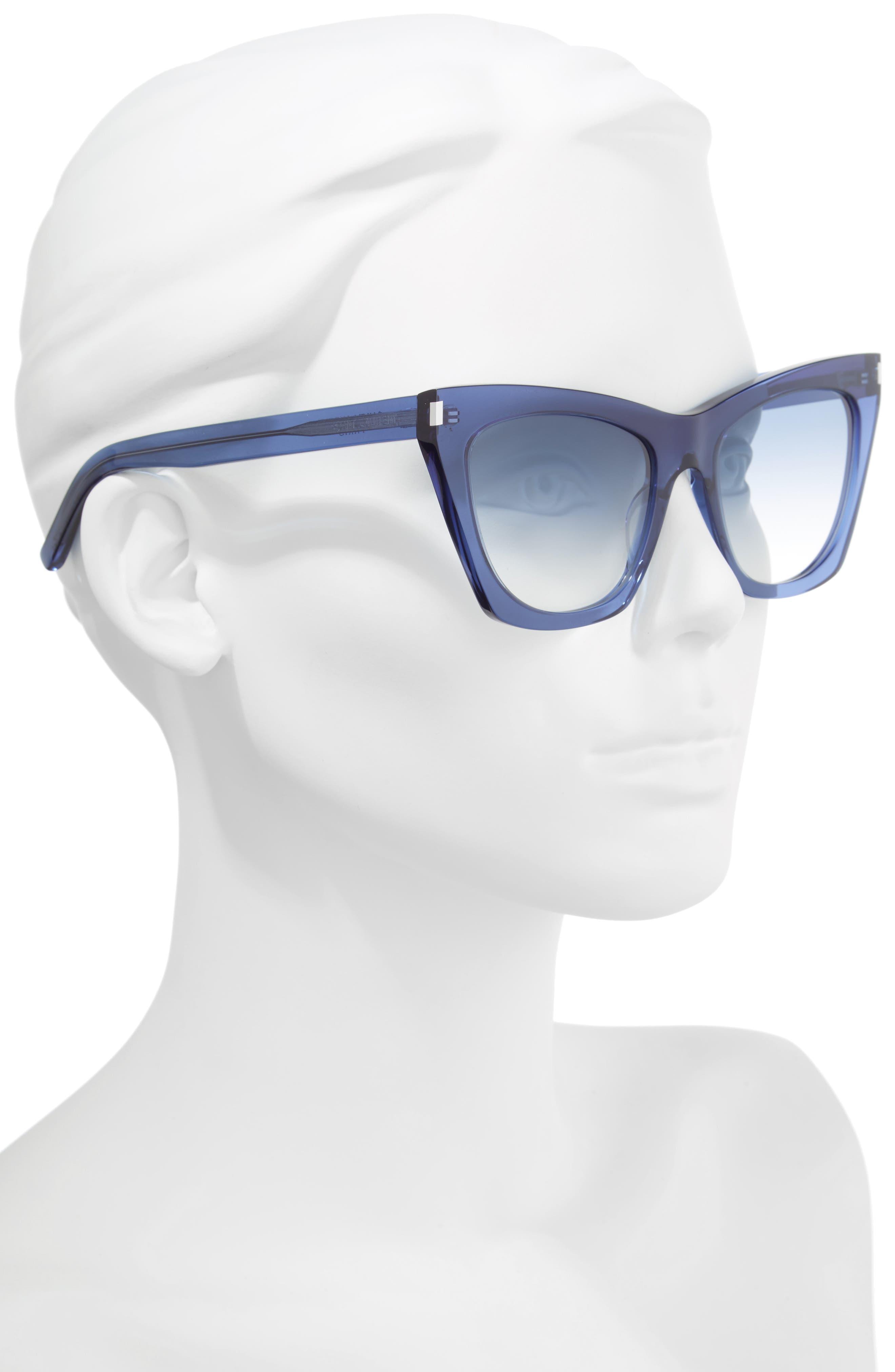 Kate 55mm Cat Eye Sunglasses,                             Alternate thumbnail 2, color,                             Blue