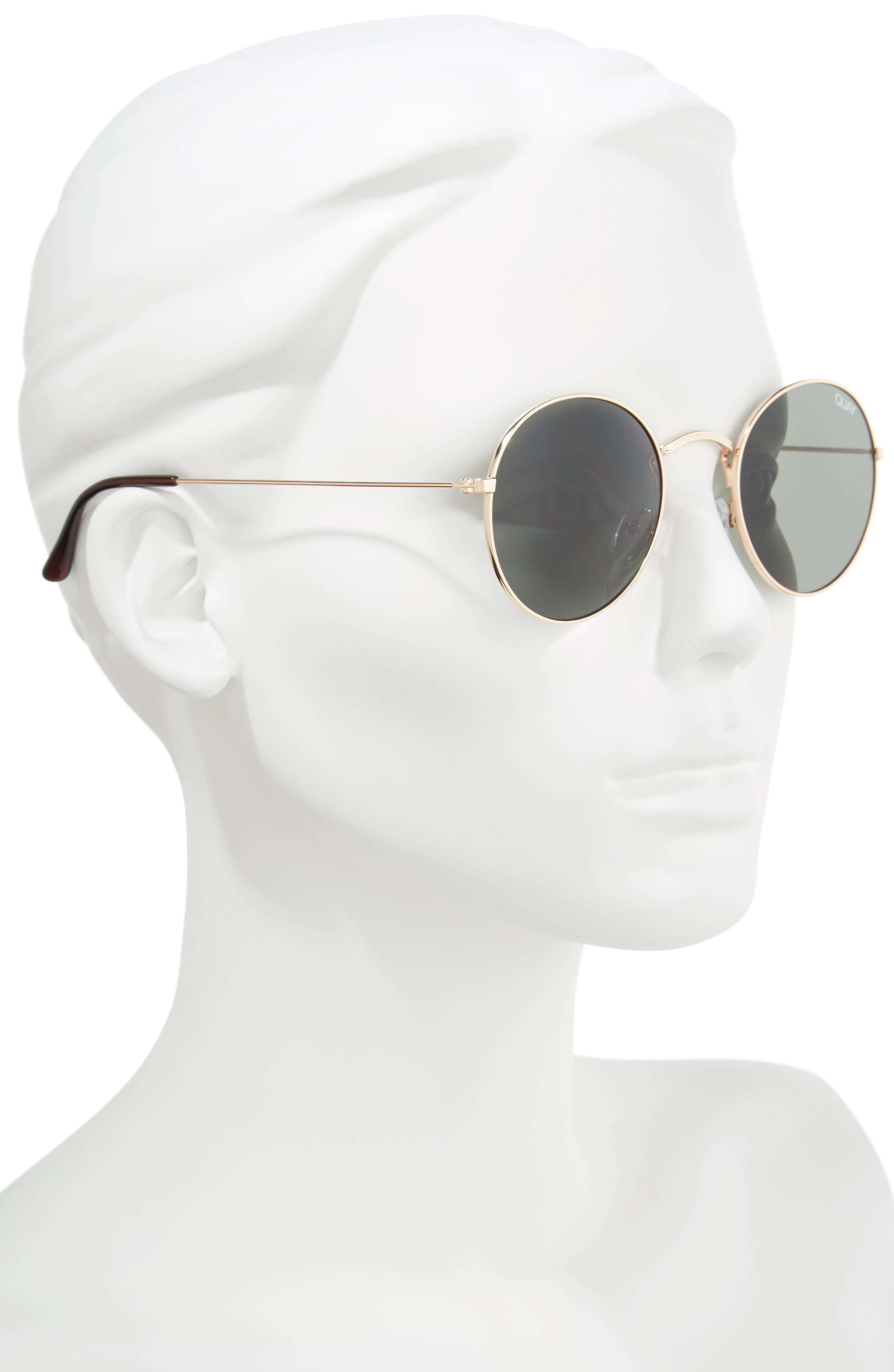 50mm Mod Star Round Sunglasses,                             Alternate thumbnail 2, color,                             Gold/ Green