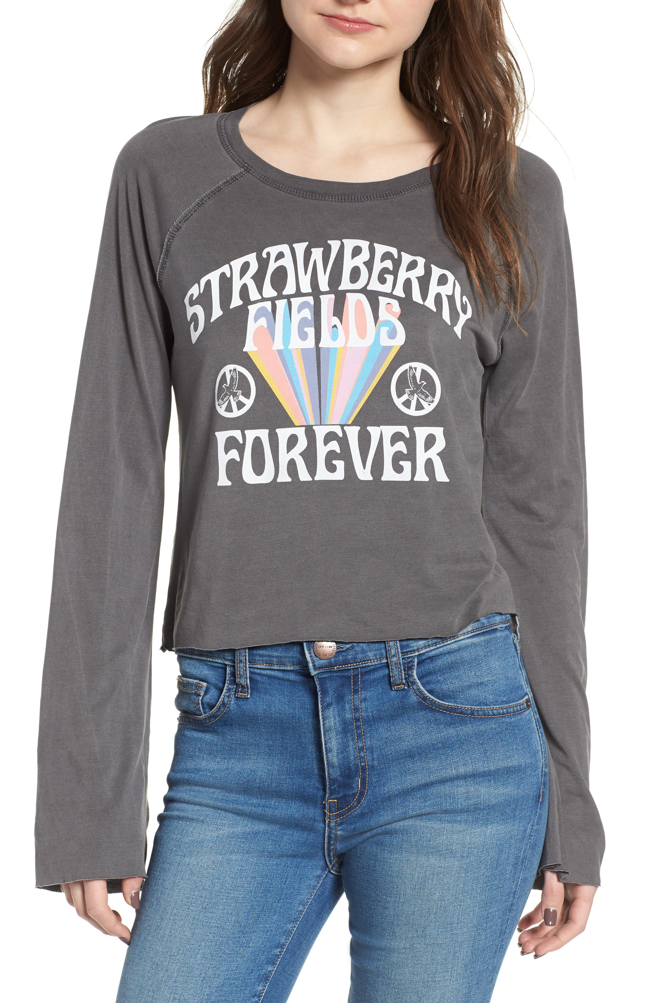 Strawberry Fields Sweatshirt,                             Main thumbnail 1, color,                             Vintage Black