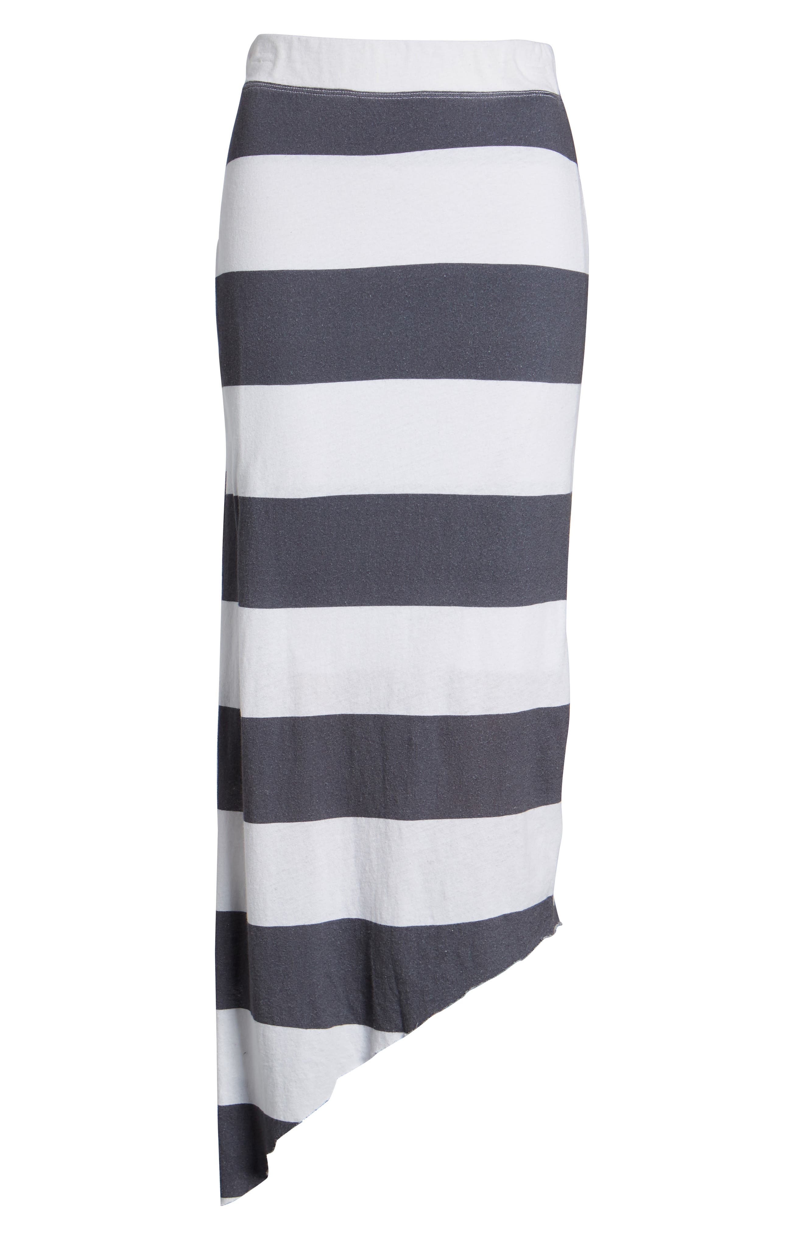 Stripe Asymmetrical Skirt,                             Alternate thumbnail 6, color,                             Carbon Rugby