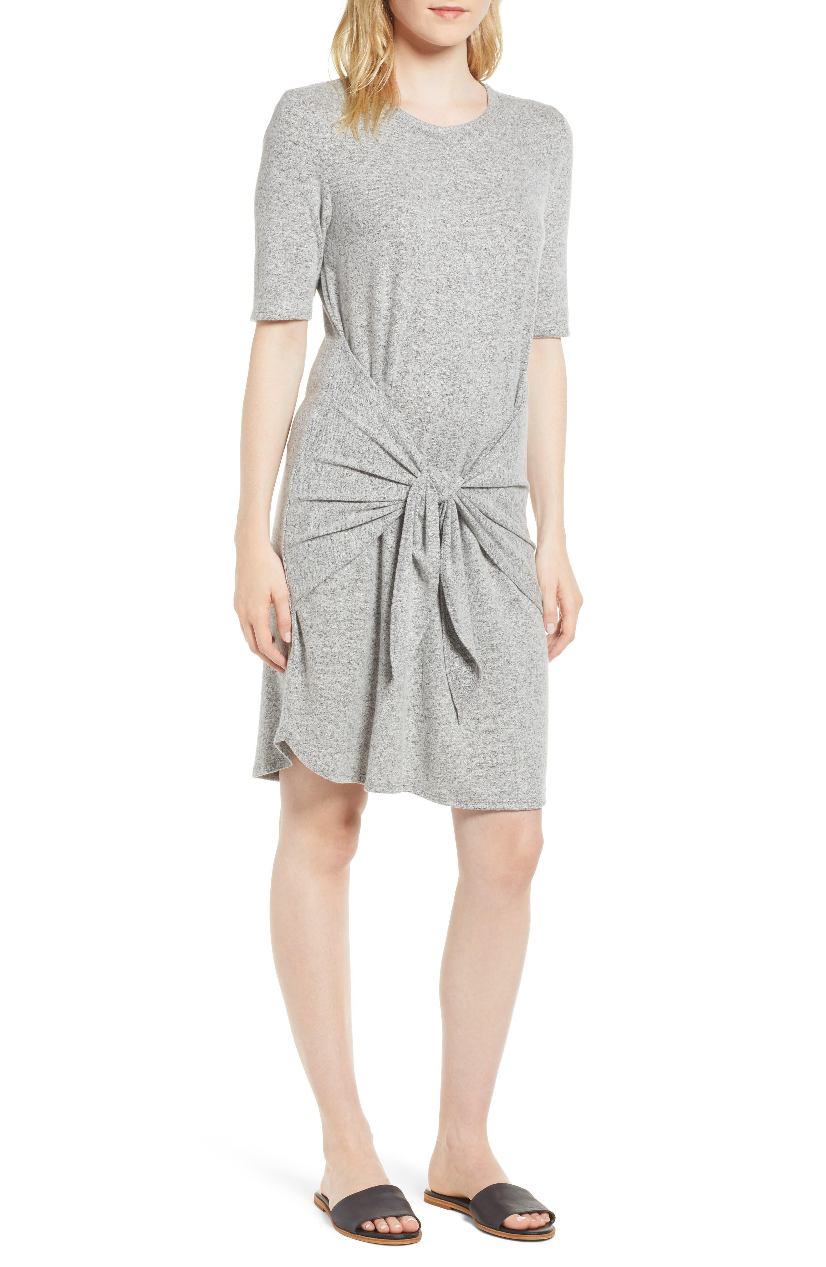 Caslon Off-Duty Tie Front Knit Dress,                             Main thumbnail 1, color,                             Grey Heather