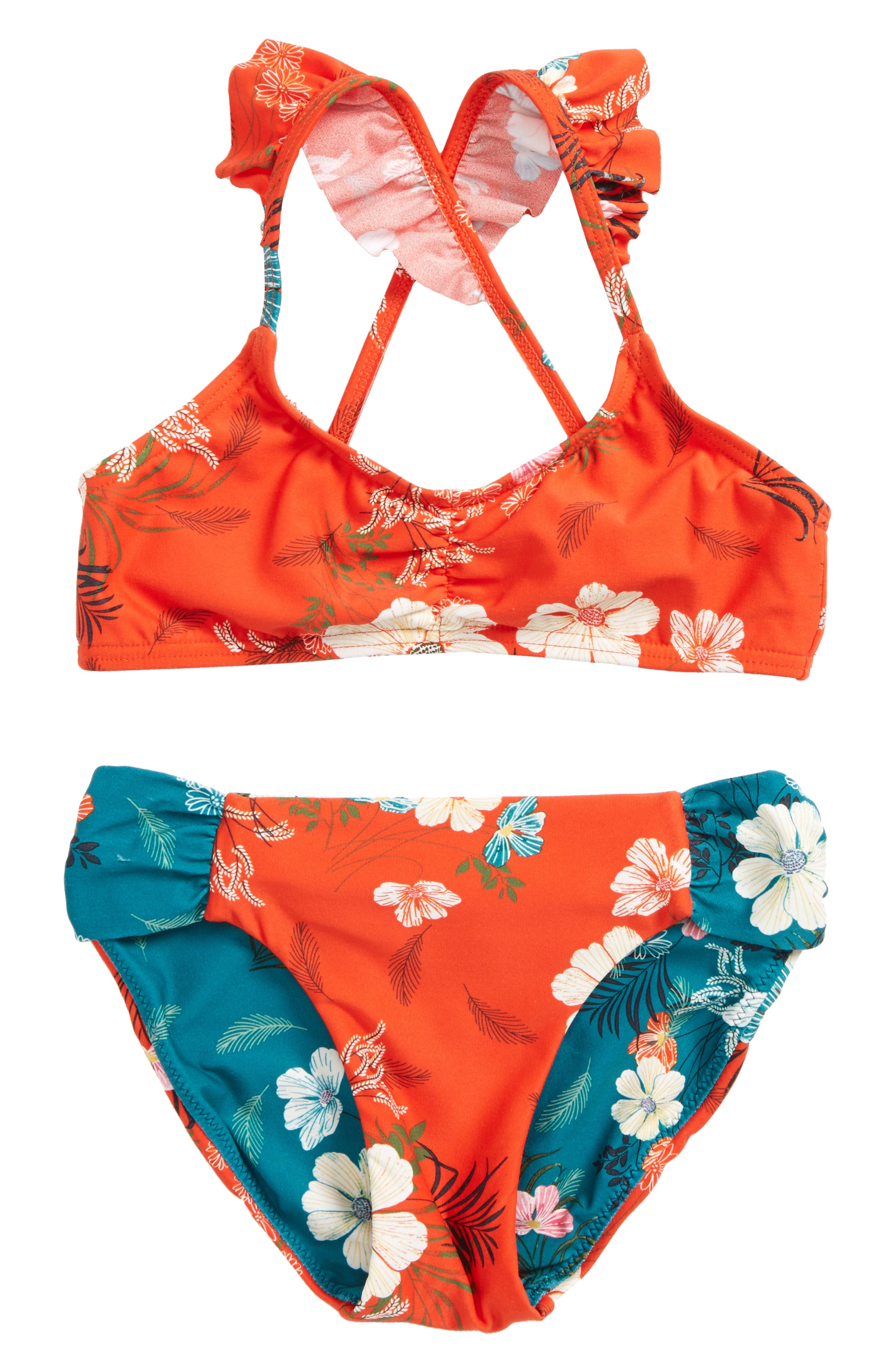 Lucy Floral Two-Piece Swimsuit,                             Main thumbnail 1, color,                             Tigerlily