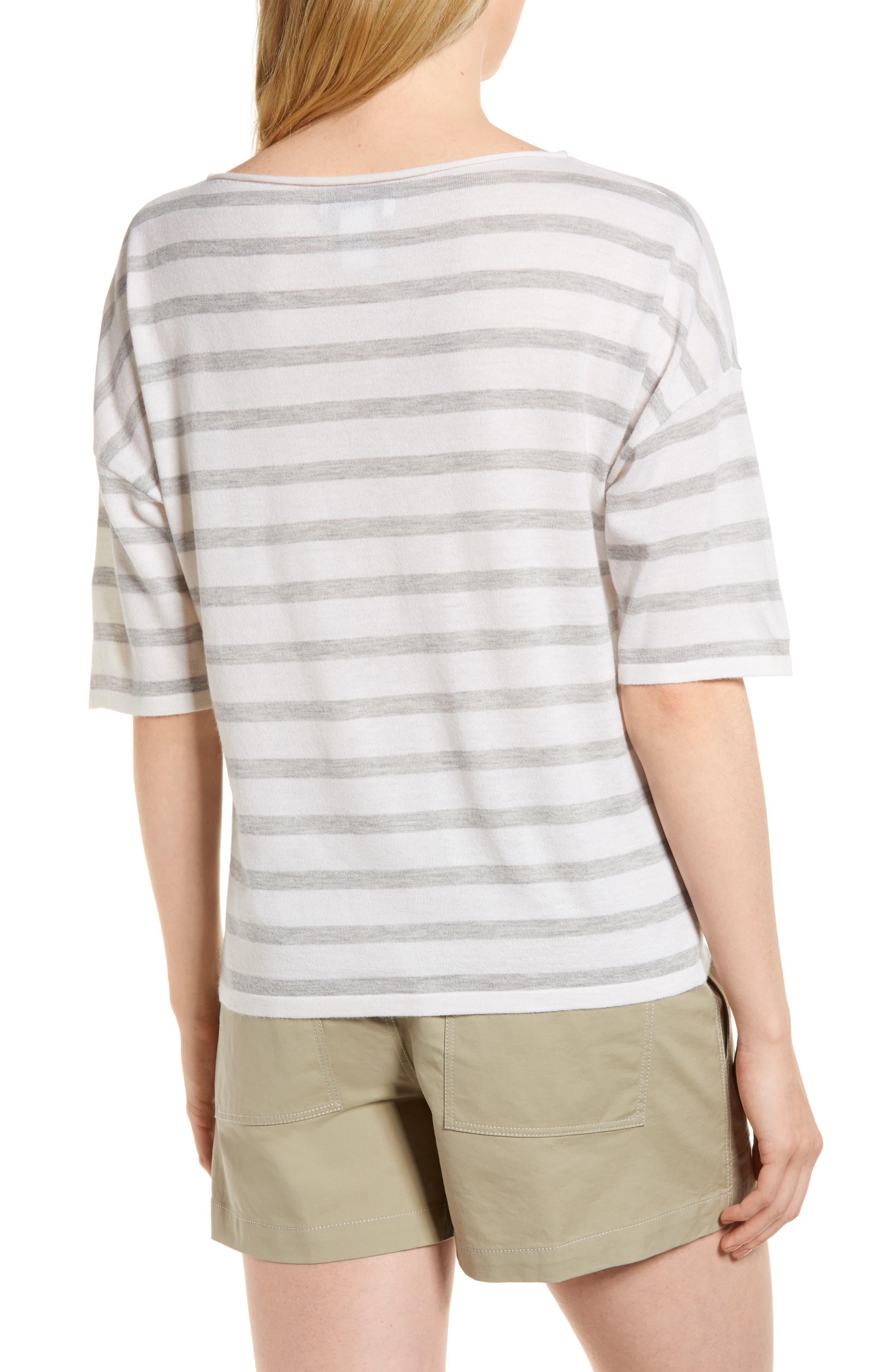 Stripe Cashmere Sweater,                             Alternate thumbnail 2, color,                             Ivory- Grey Heather Stripe
