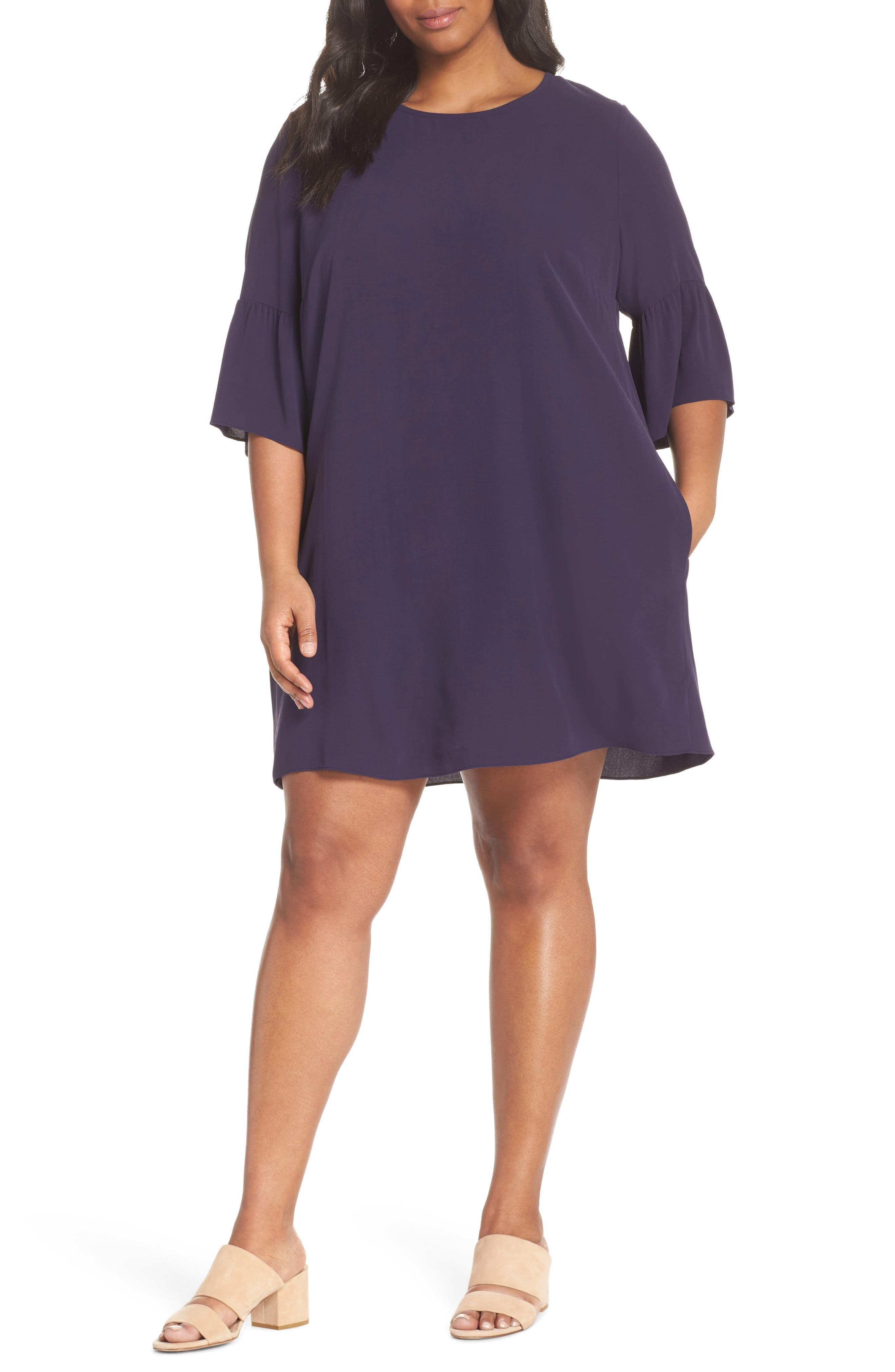 Flare Sleeve Silk Shift Dress,                             Main thumbnail 1, color,                             Salt Lake