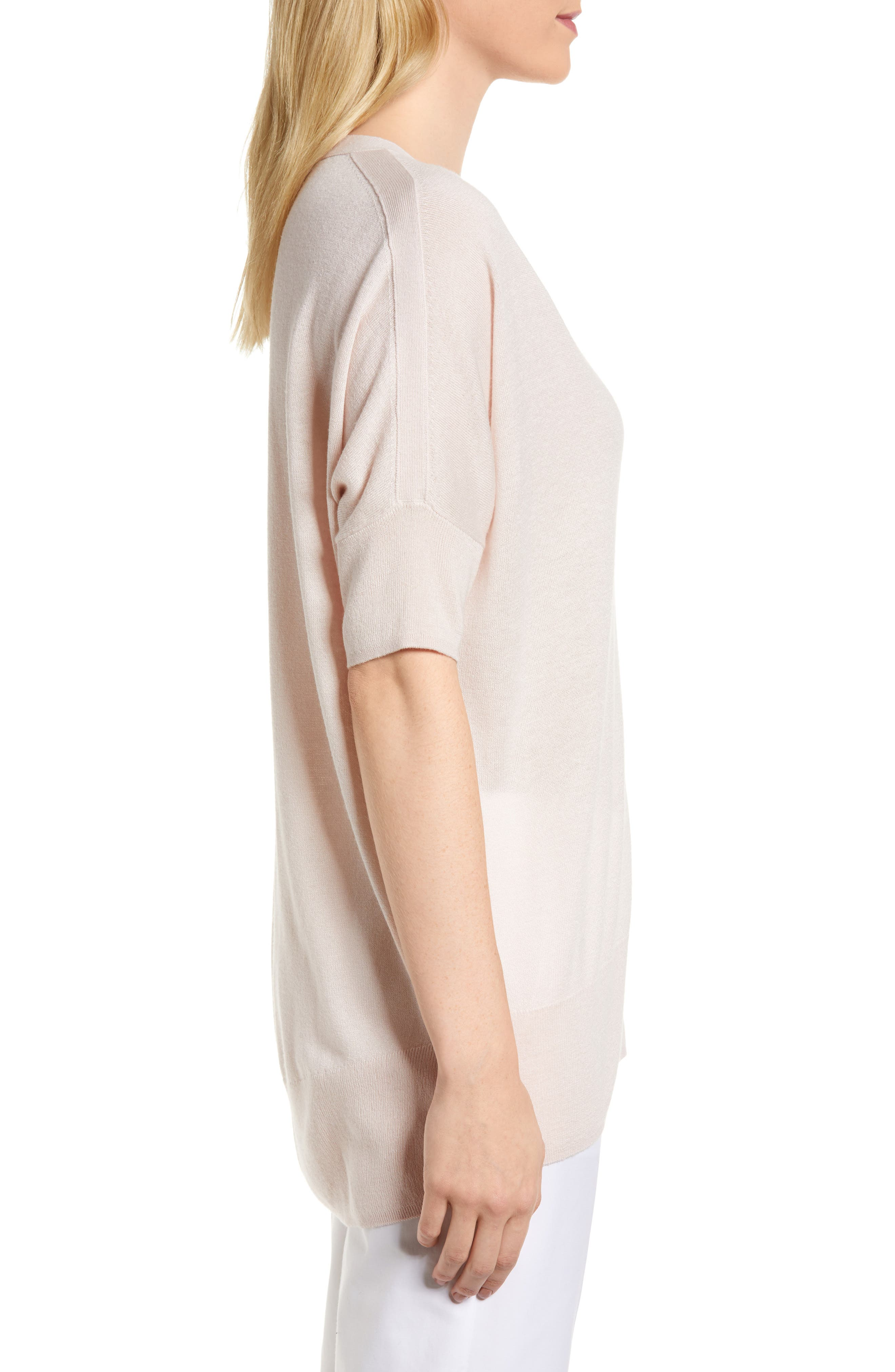 High/Low Silk & Cashmere Sweater,                             Alternate thumbnail 3, color,                             Pink Peony Bud