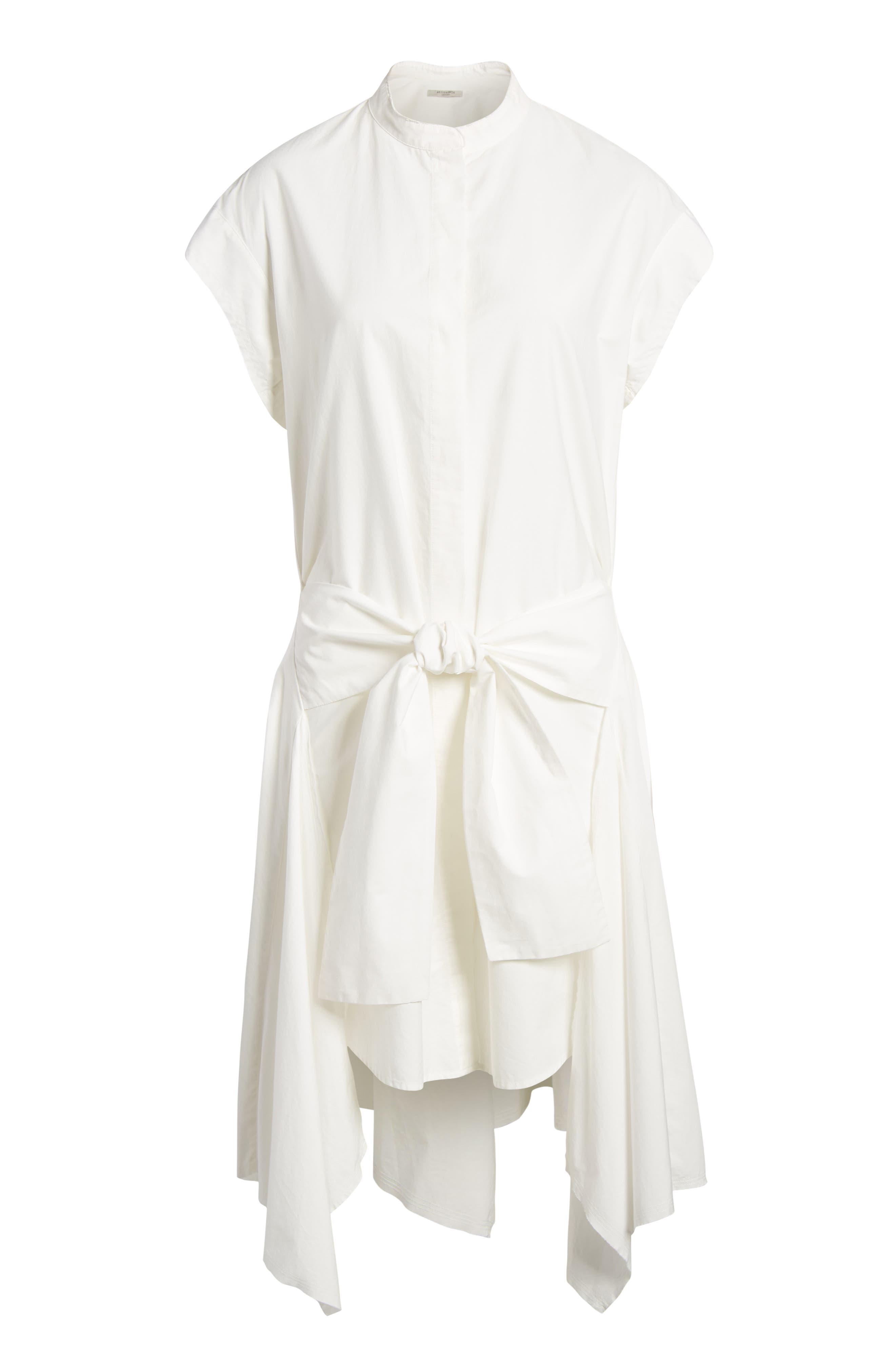 Georgia Tie Waist Shirtdress,                             Alternate thumbnail 6, color,                             Chalk White