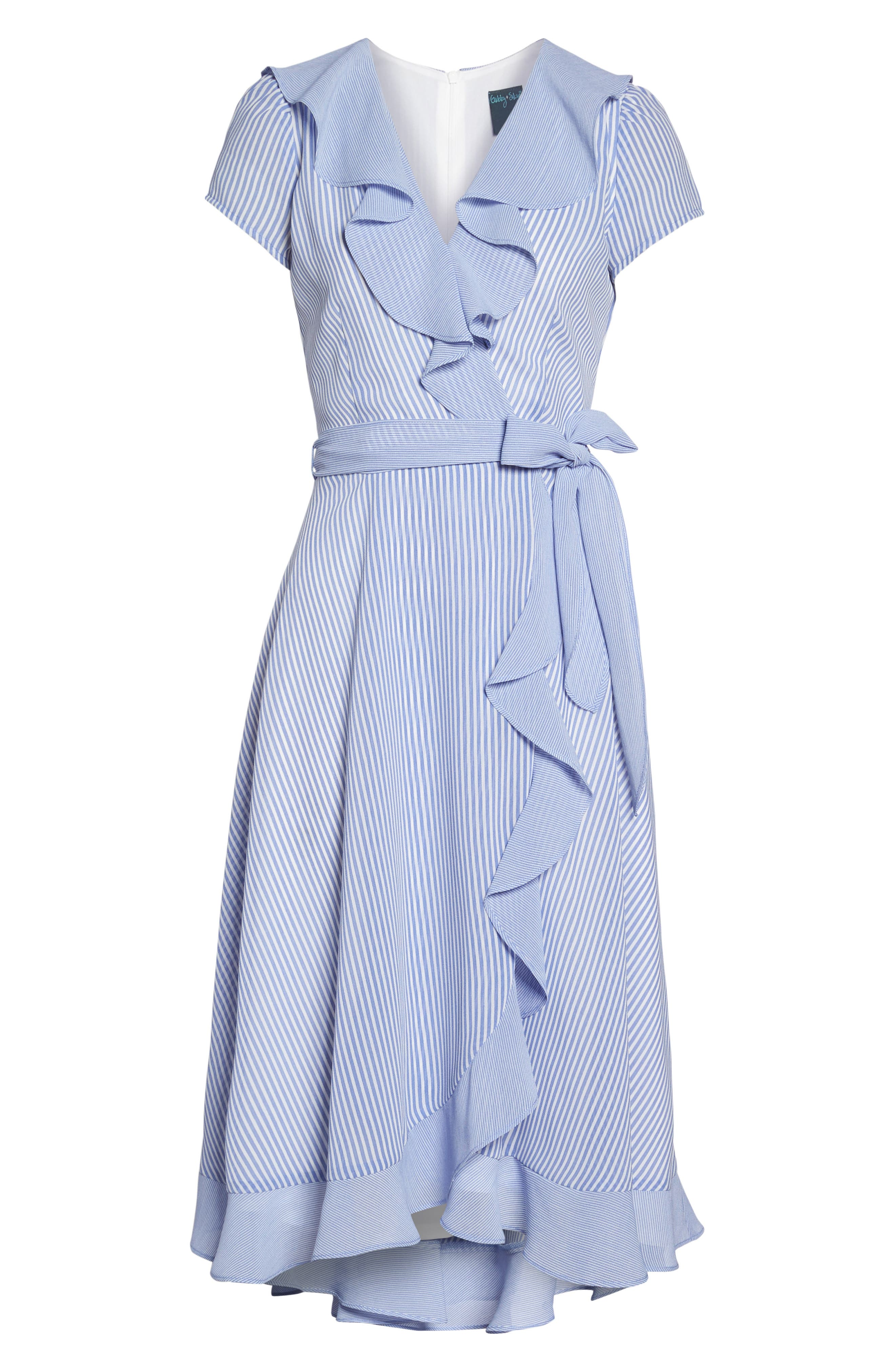 Stripe Faux Wrap Dress,                             Alternate thumbnail 6, color,                             Ivory/ Chambray