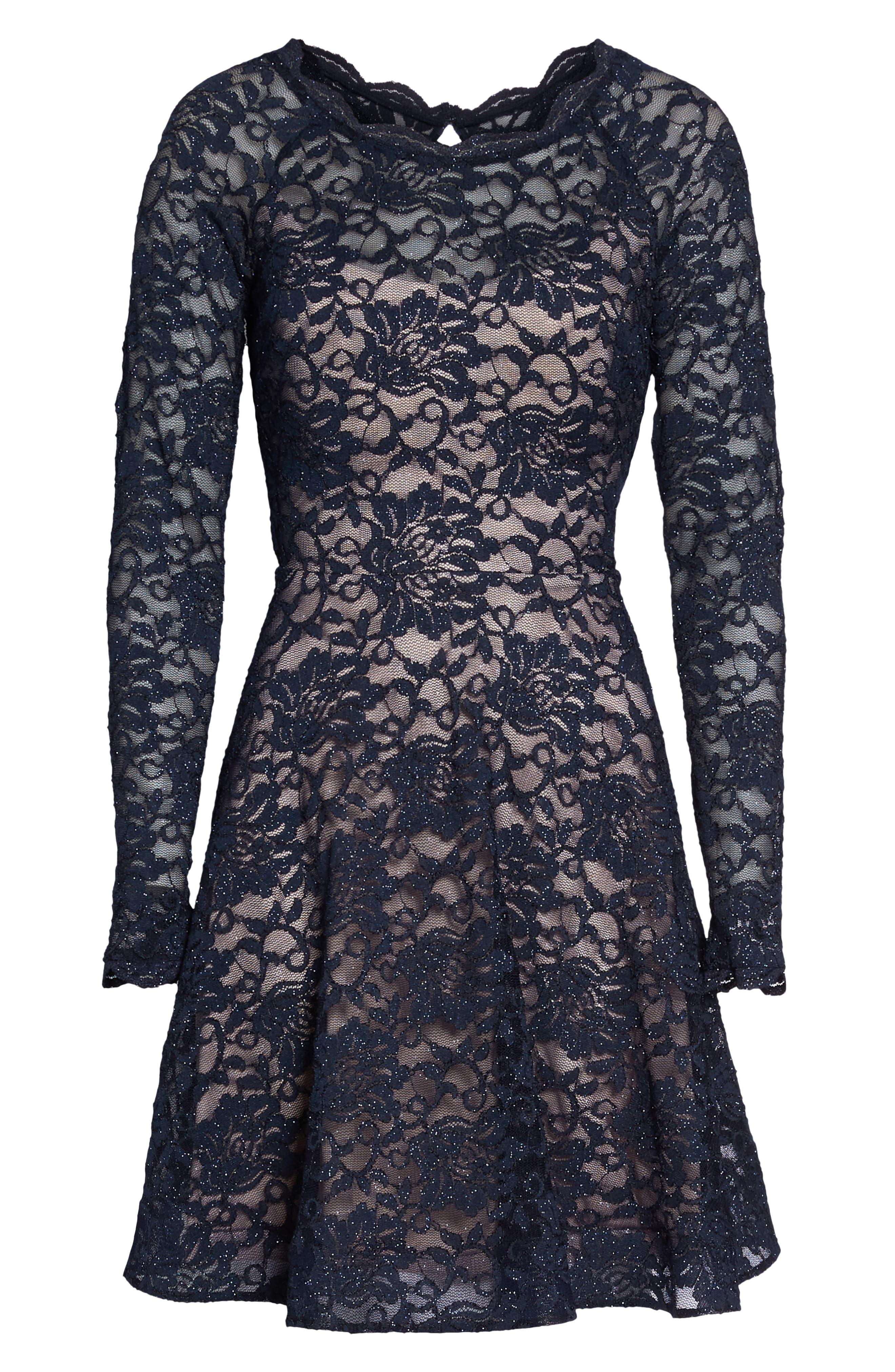 Glitter Lace Fit & Flare Dress,                             Alternate thumbnail 6, color,                             Navy/ Mauve