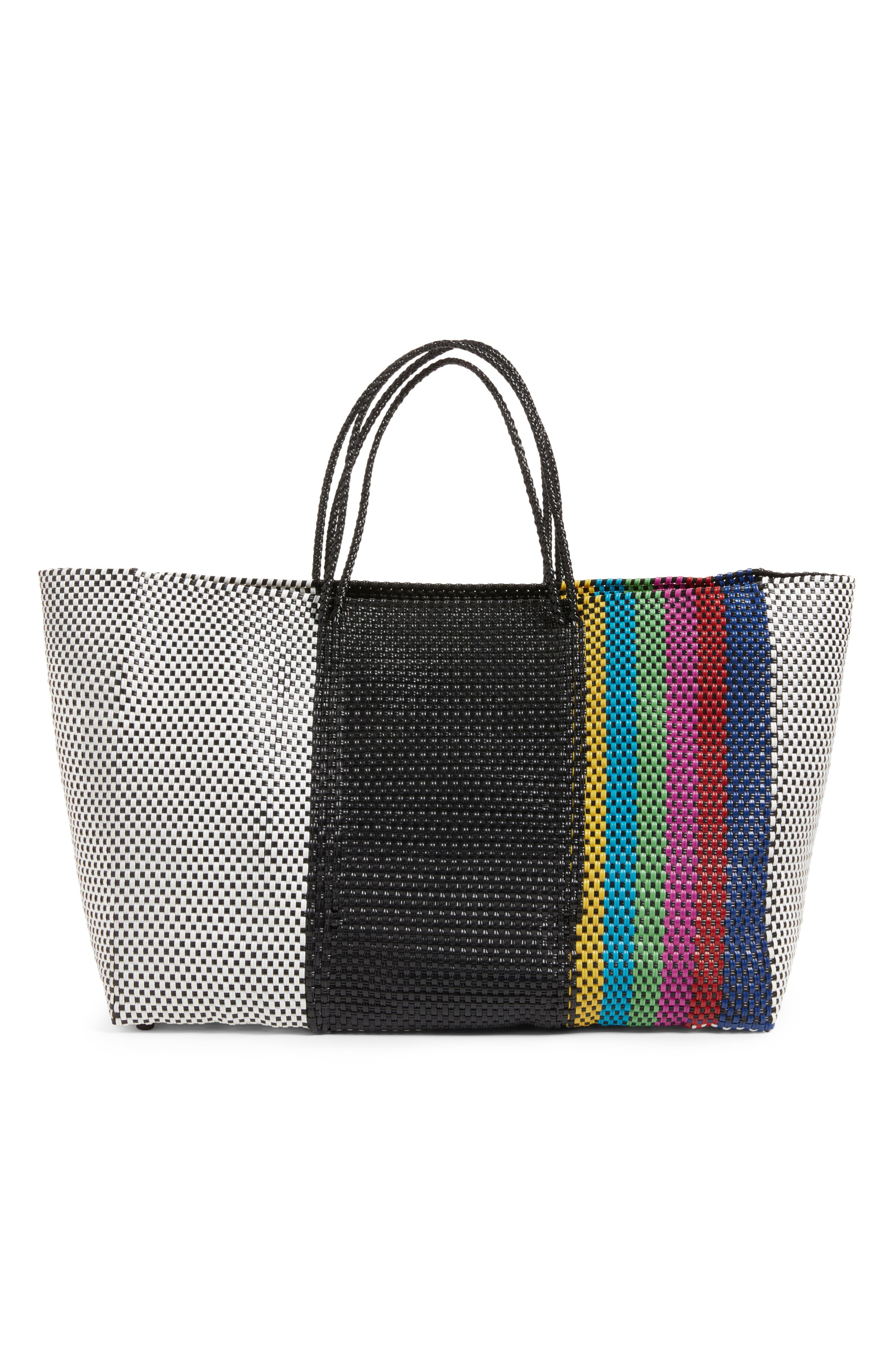 Woven Stripe Weekend Tote,                             Main thumbnail 1, color,                             Tv Color